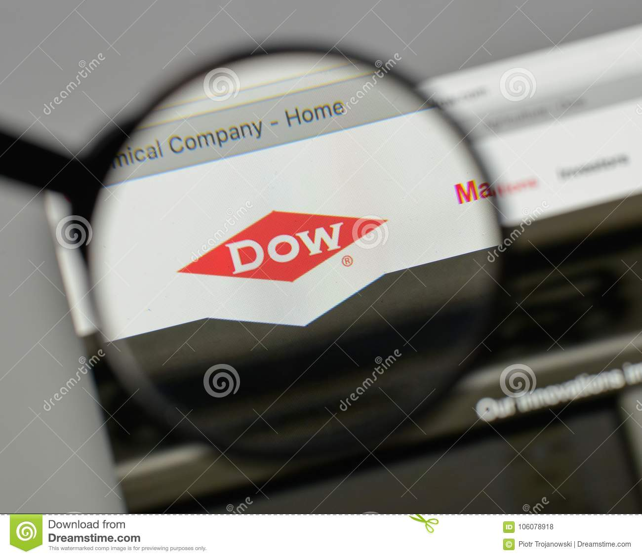 Milan Italy August 10 2017 Dow Chemical Logo On The Website