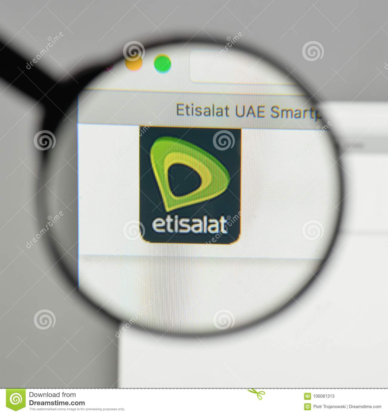 Milan Italy August 10 2017 Etisalat Logo On The Website Hom