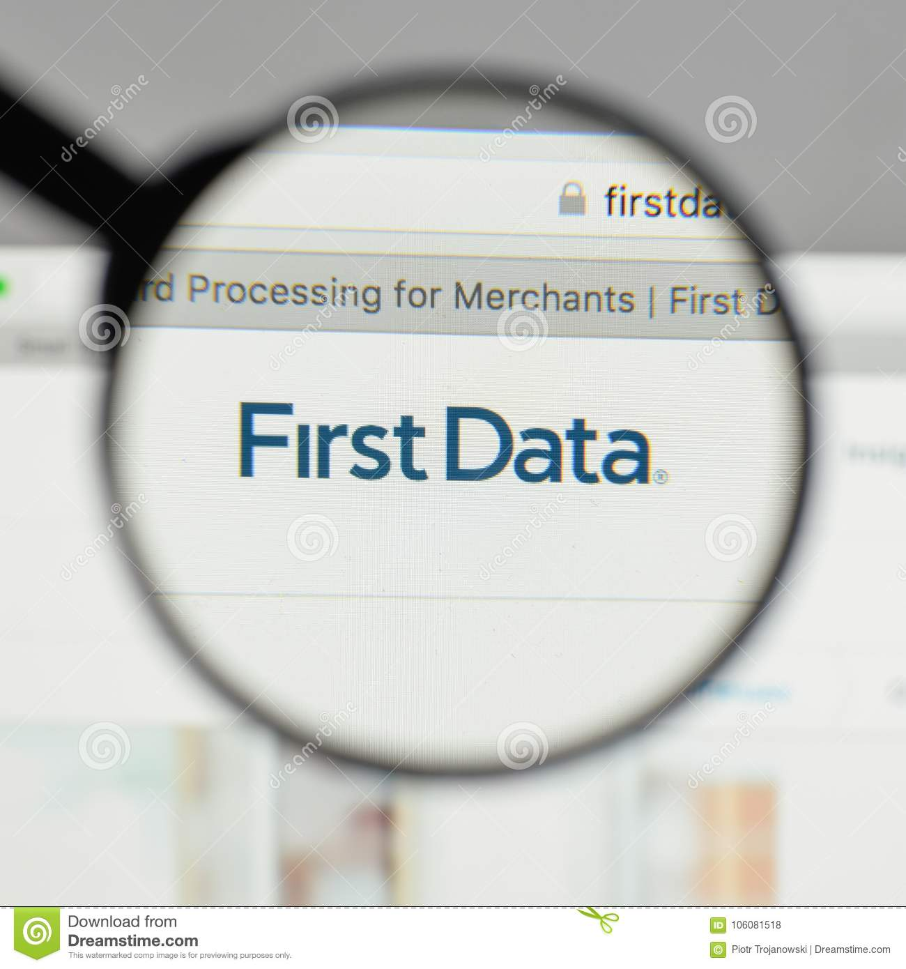 Milan Italy August 10 2017 First Data Logo On The Website H