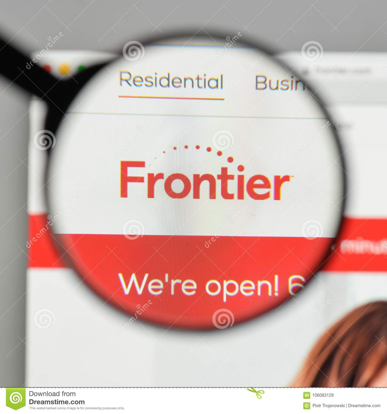 Milan Italy August 10 2017 Frontier Communications Logo On