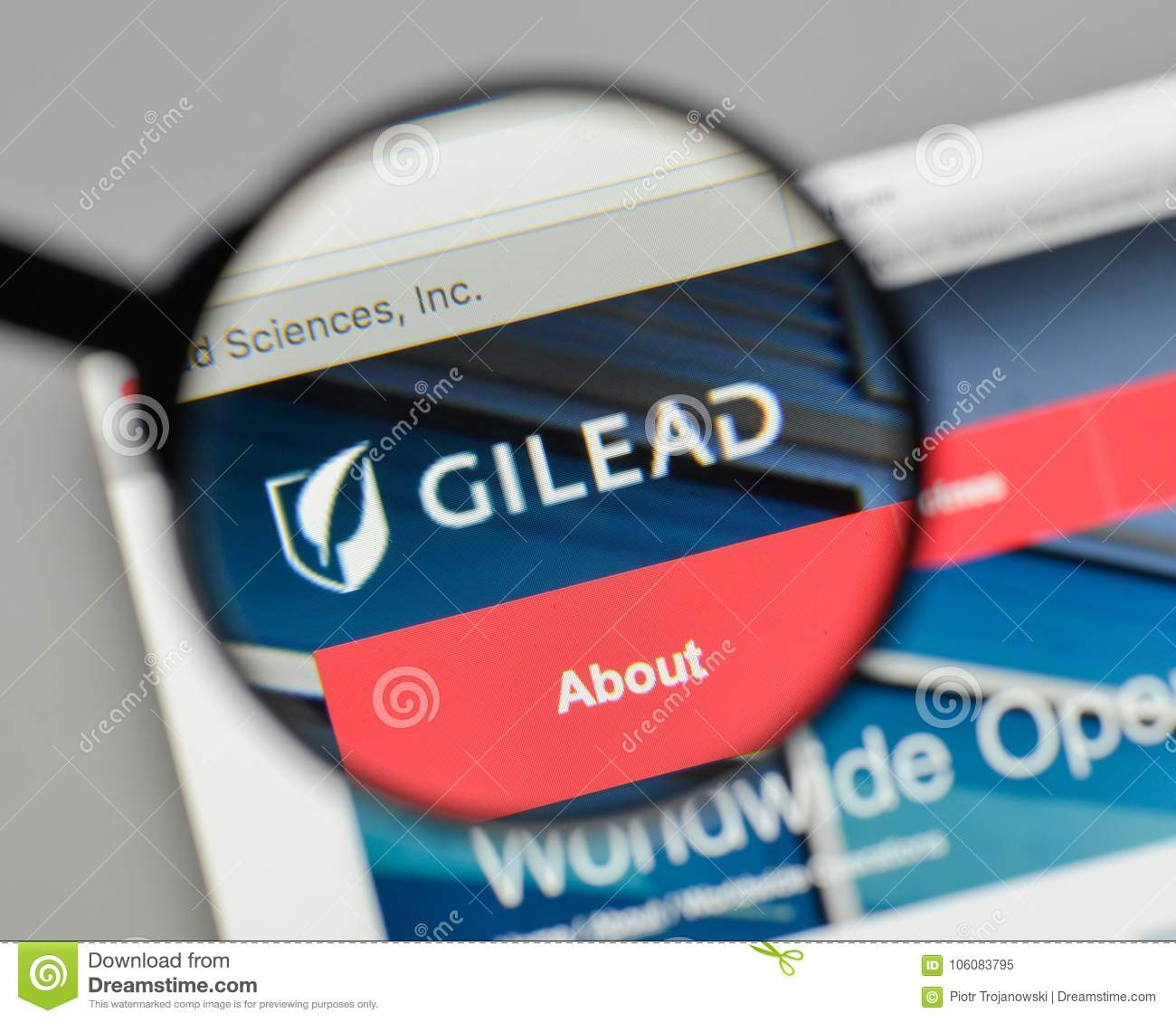 Milan Italy August 10 2017 Gilead Sciences Logo On The Webs