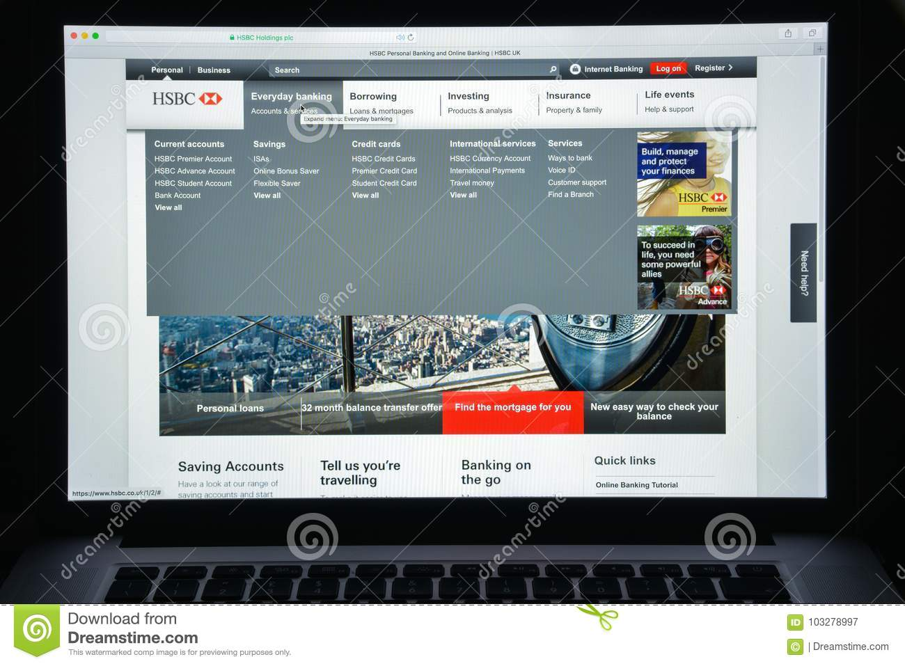 Milan, Italy - August 10, 2017: Hsbc Bank Website Homepage