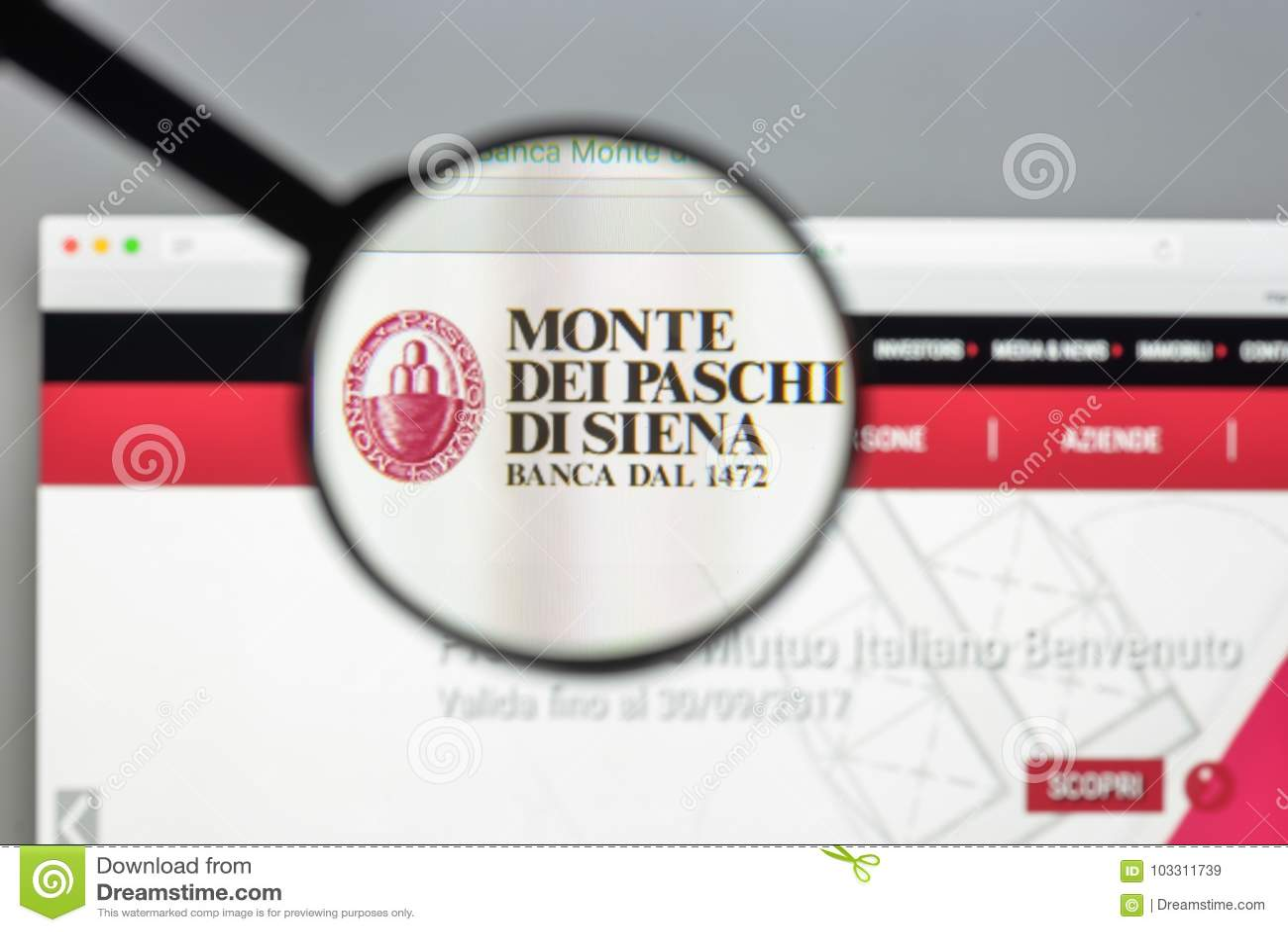 Milan Italy August 10 2017 Monte Dei Paschi Di Siena Bank W