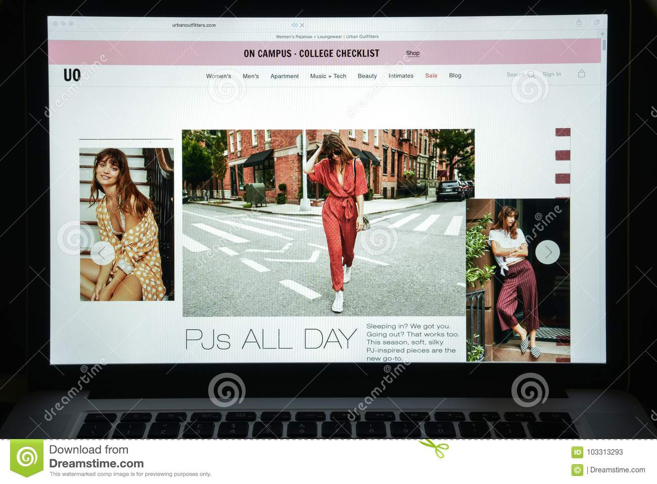 Milan, Italy - August 10, 2017: Urban outfitters website homepage. It is an American multinational clothing corporation. Urban