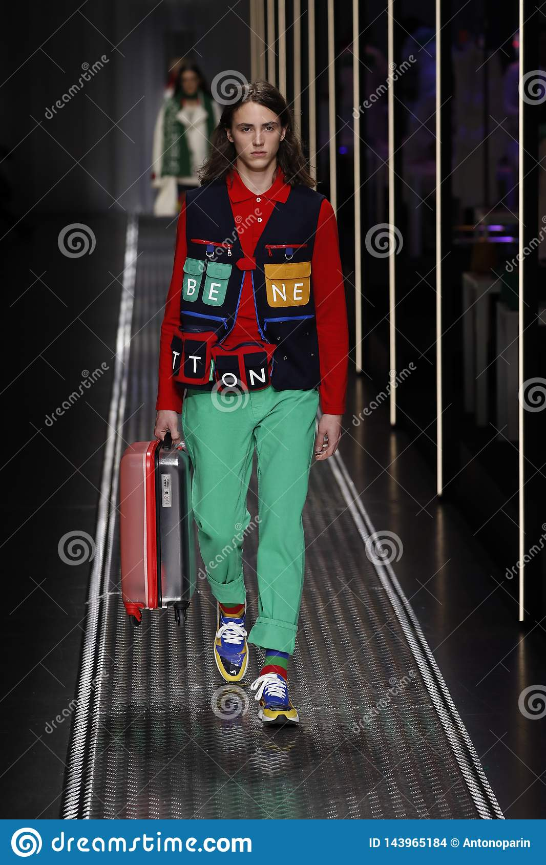 Buscar a tientas pequeño Principiante  A Model Walks The Runway At The United Colors Of Benetton Show At Milan  Fashion Week Autumn/Winter 2019/20 Editorial Stock Image - Image of shirt,  autumn: 143965184