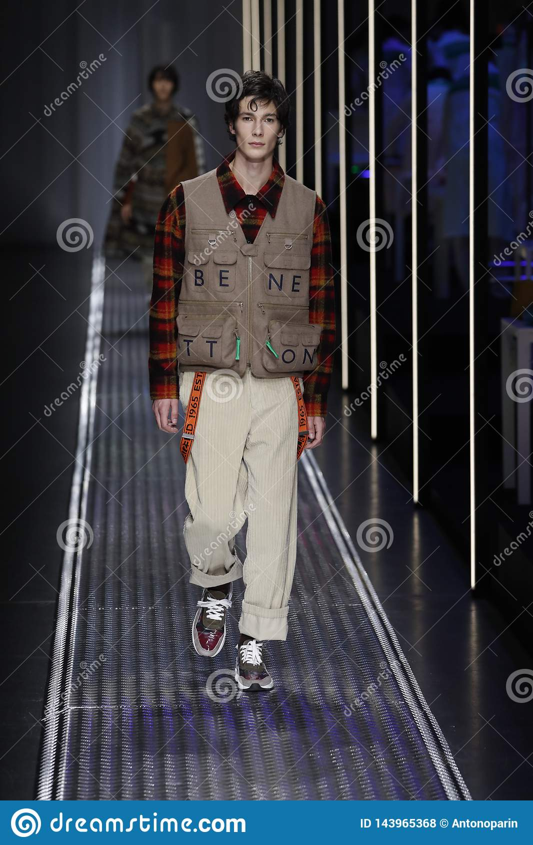agricultores Geometría Bebida  A Model Walks The Runway At The United Colors Of Benetton Show At Milan  Fashion Week Autumn/Winter 2019/20 Editorial Stock Photo - Image of show,  pants: 143965368