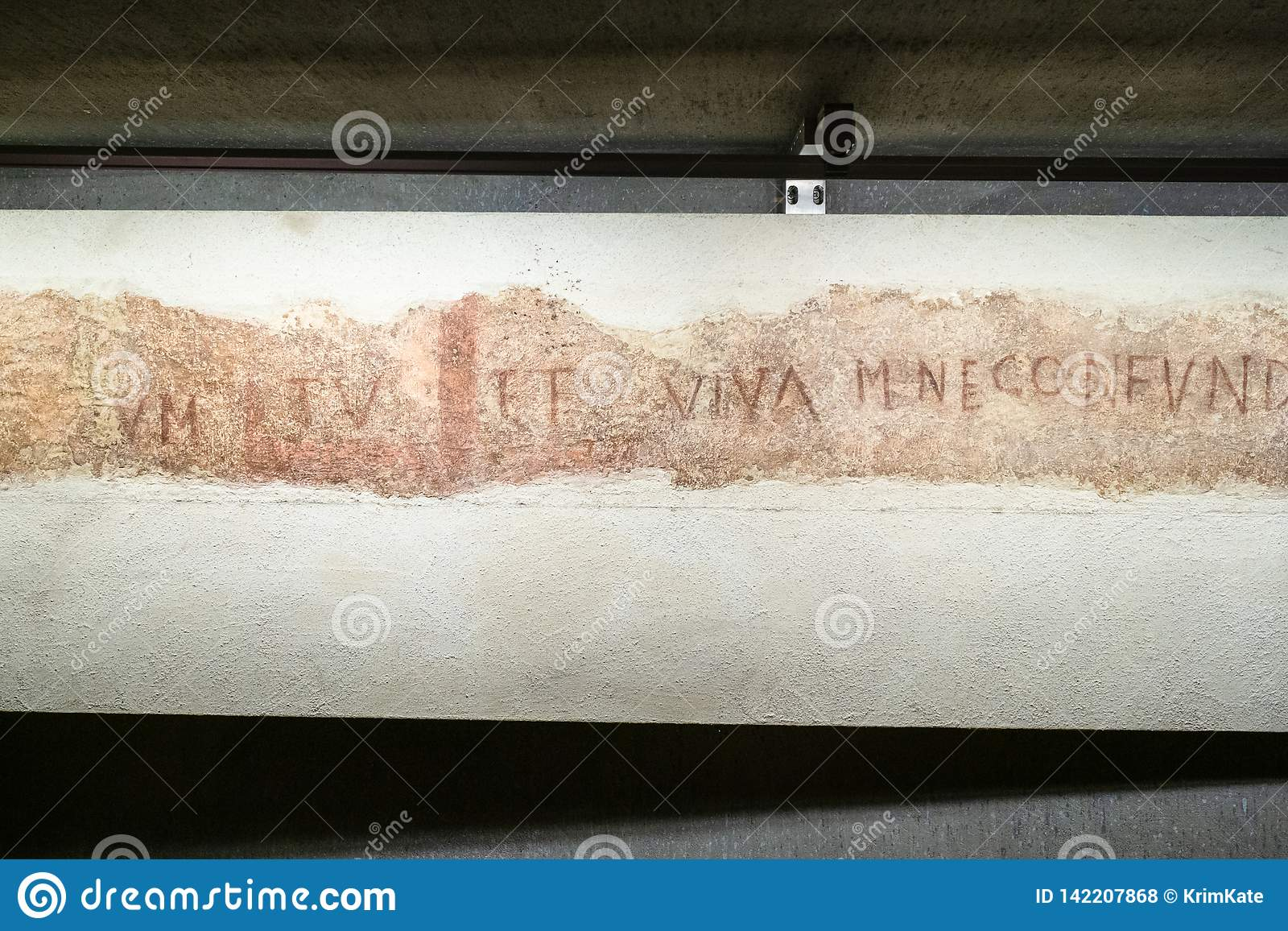 Inscription in archaeological area in Milan Duomo