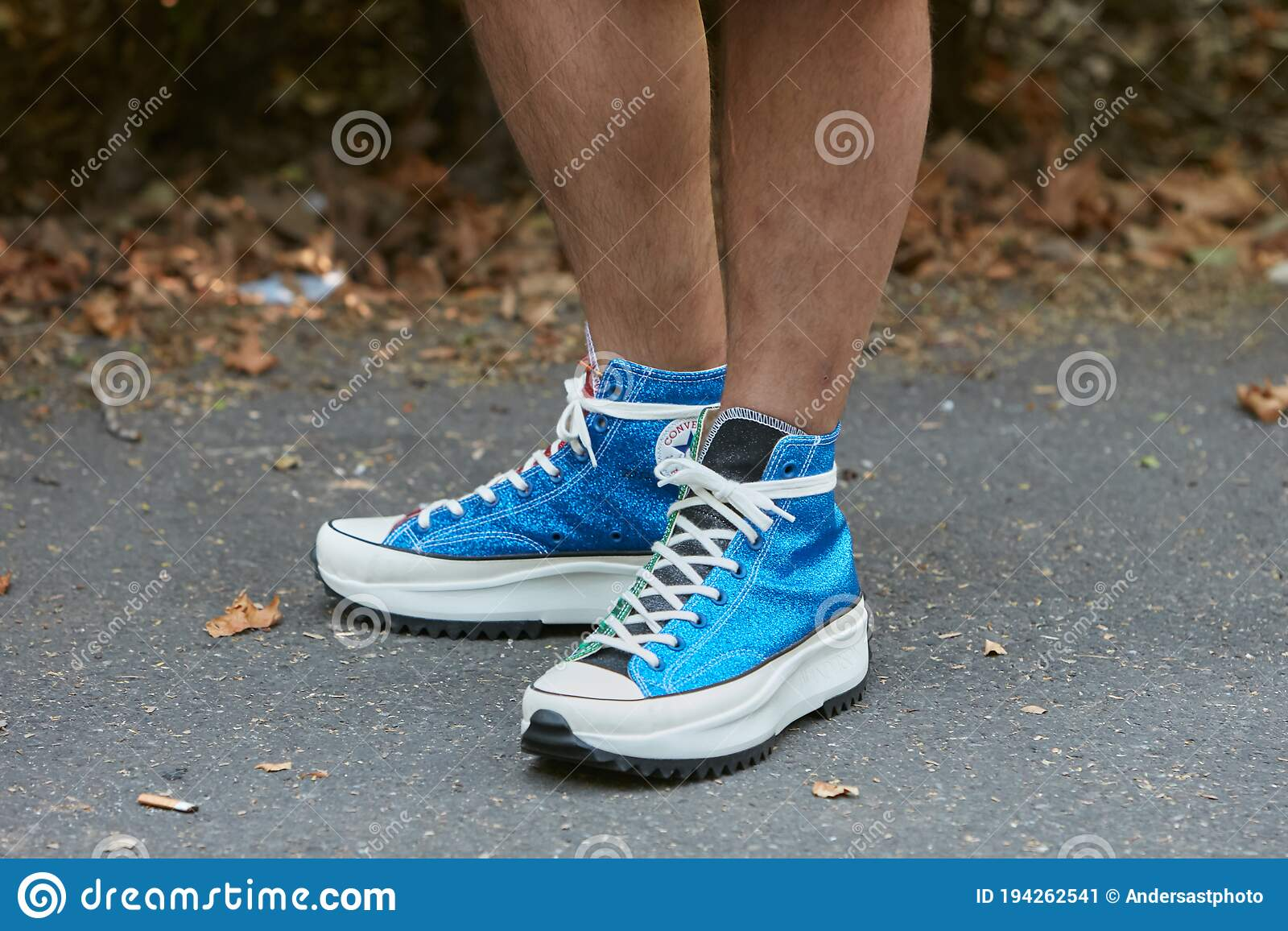 Man With Converse Blue Glitter Sneakers Before Fendi Fashion Show ...