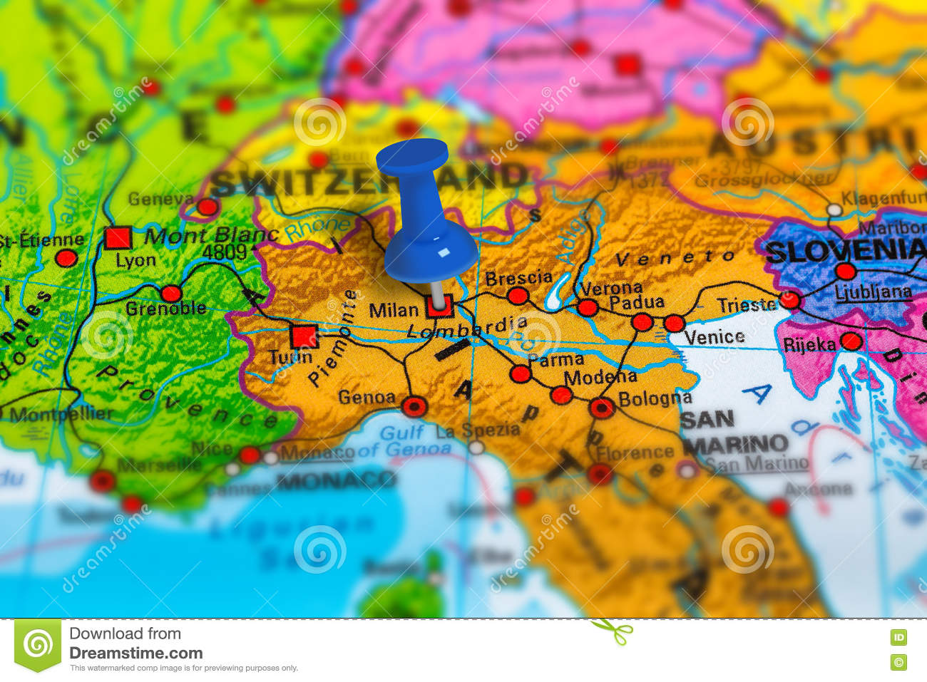 Milan Italy map stock photo. Image of landmark, culture - 80957372