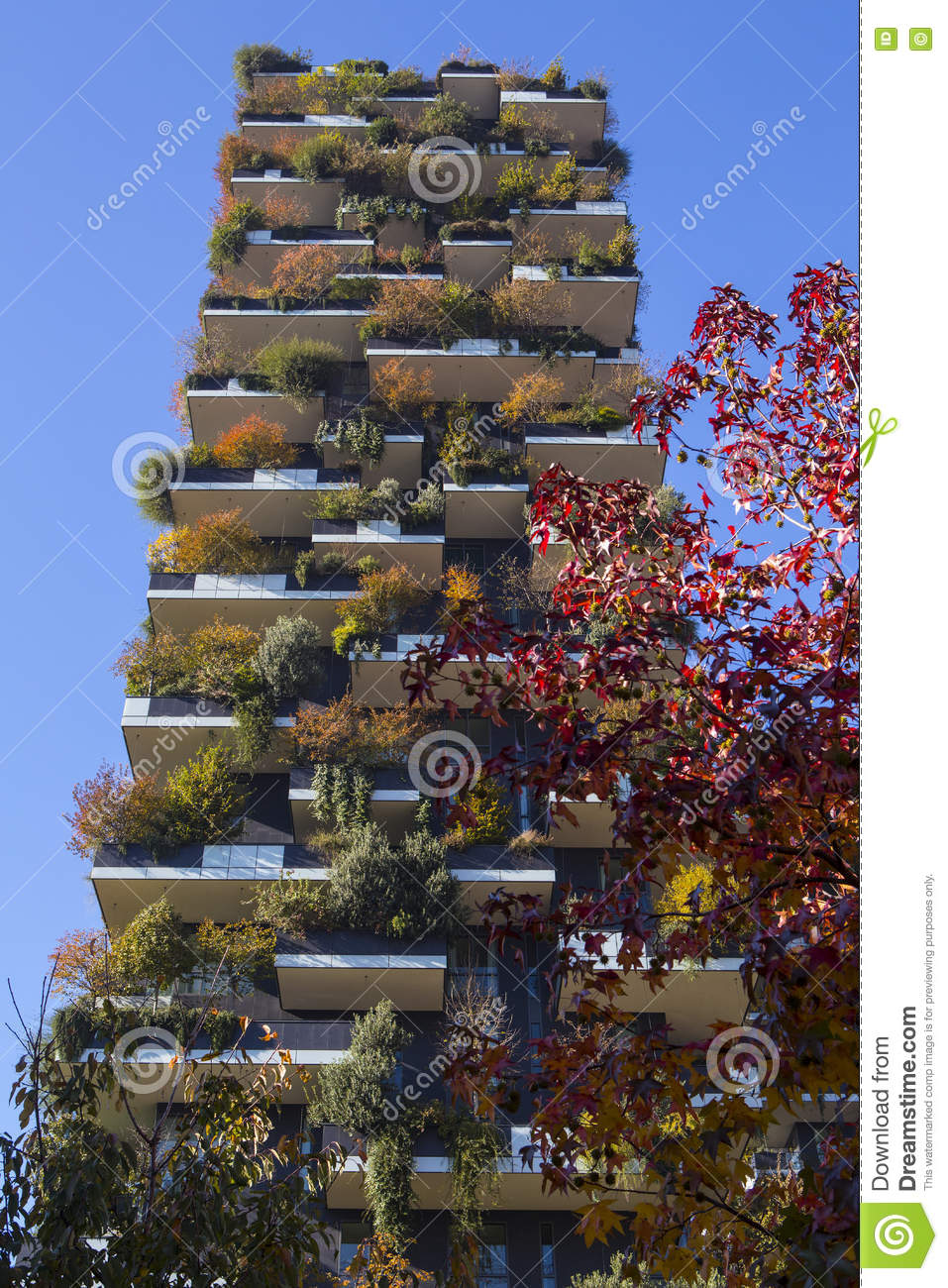 milan italy nov 2016 bosco verticale vertical forest apartment editorial stock image image. Black Bedroom Furniture Sets. Home Design Ideas