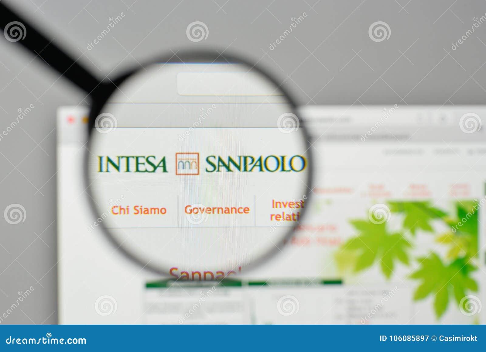 Milan, Italy - November 1, 2017: Intesa Sanpaolo Group Logo