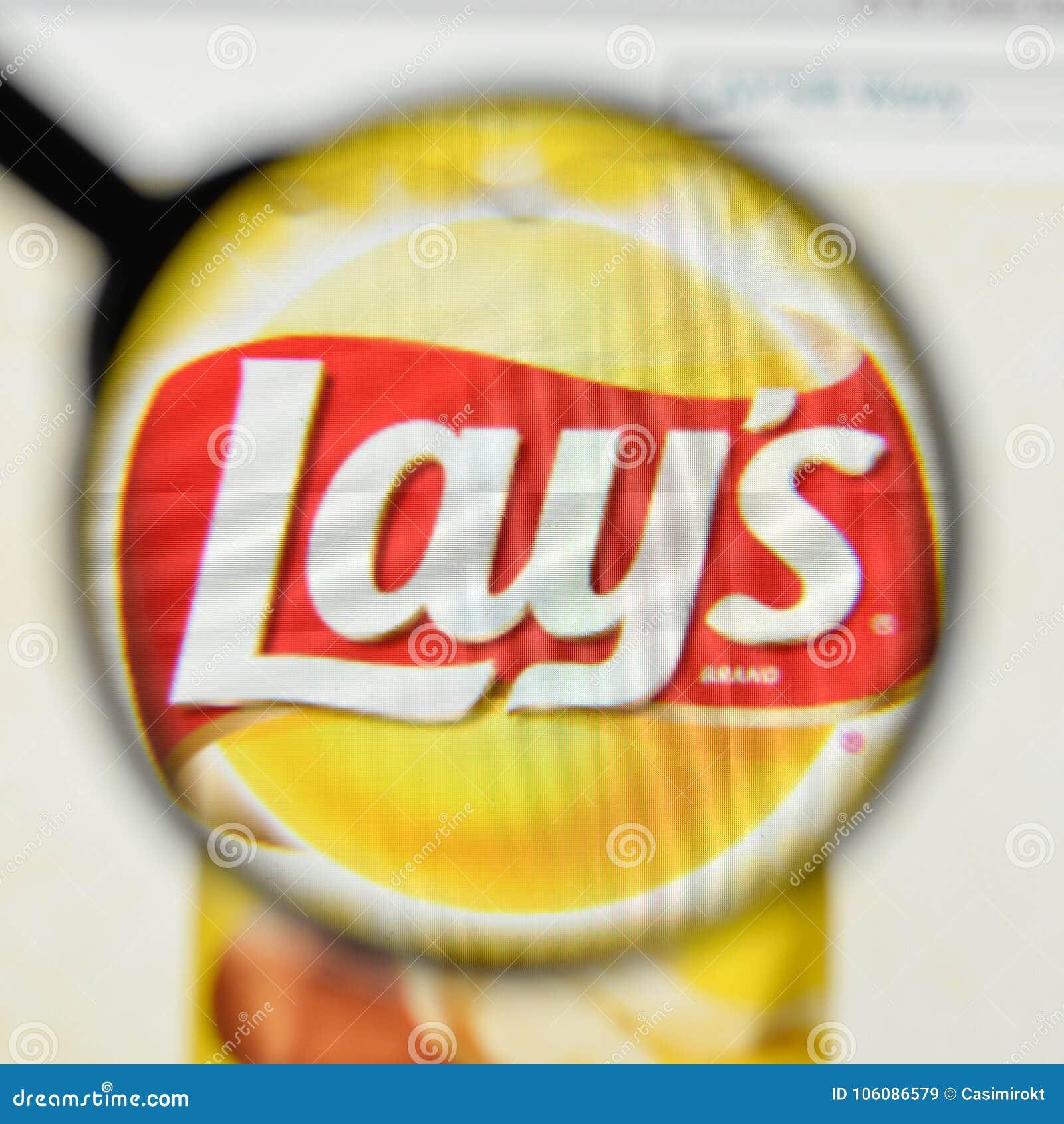 Milan Italy November 1 2017 Lays Potato Chips Logo On The