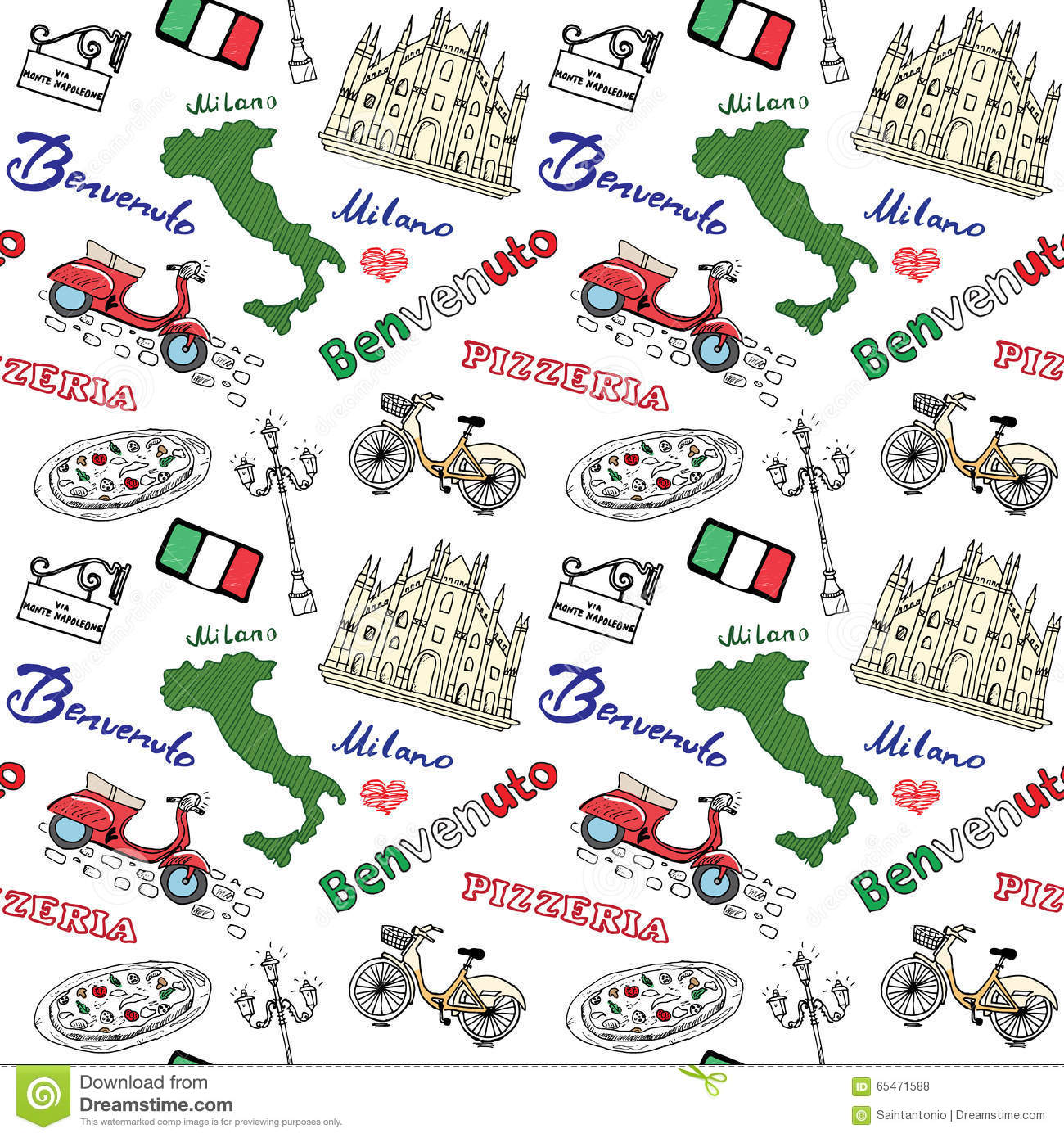 Milan Italy Seamless Pattern With Hand Drawn Sketch Elements Duomo ...