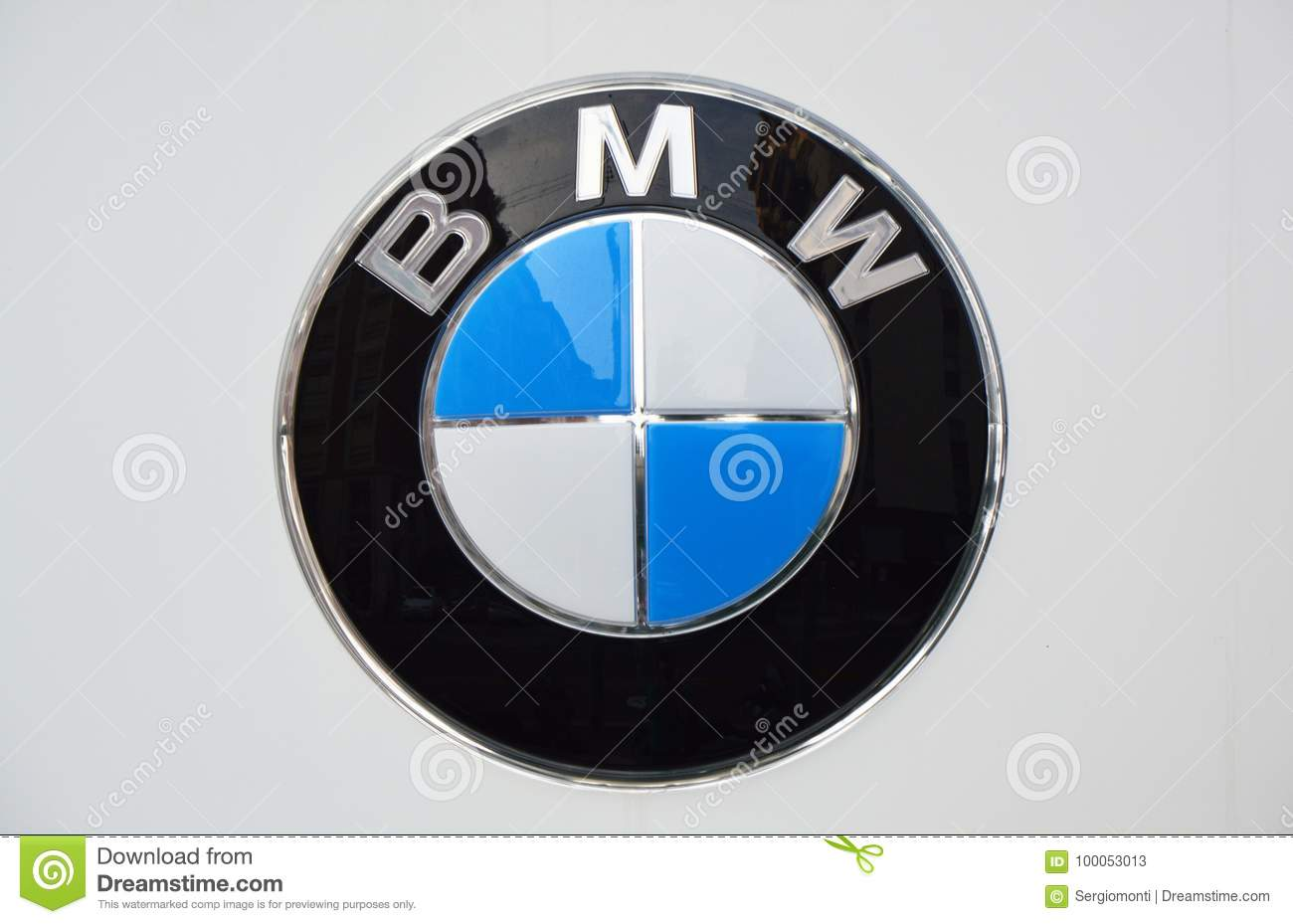 MILAN, ITALY - SEPTEMBER 7, 2017: BMW logo, BMW is a German luxury vehicle, sports car, motorcycle, and engine manufacturing compa