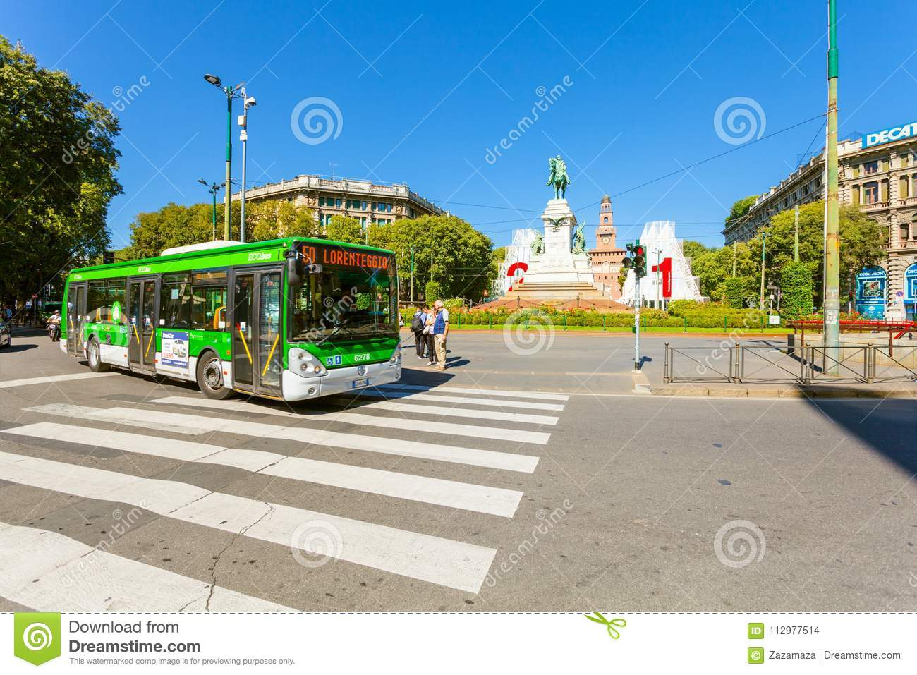 MILAN, ITALY - September 07, 2016: The crosswalk and bus are near metro station Cairoli which is located on the Piazza