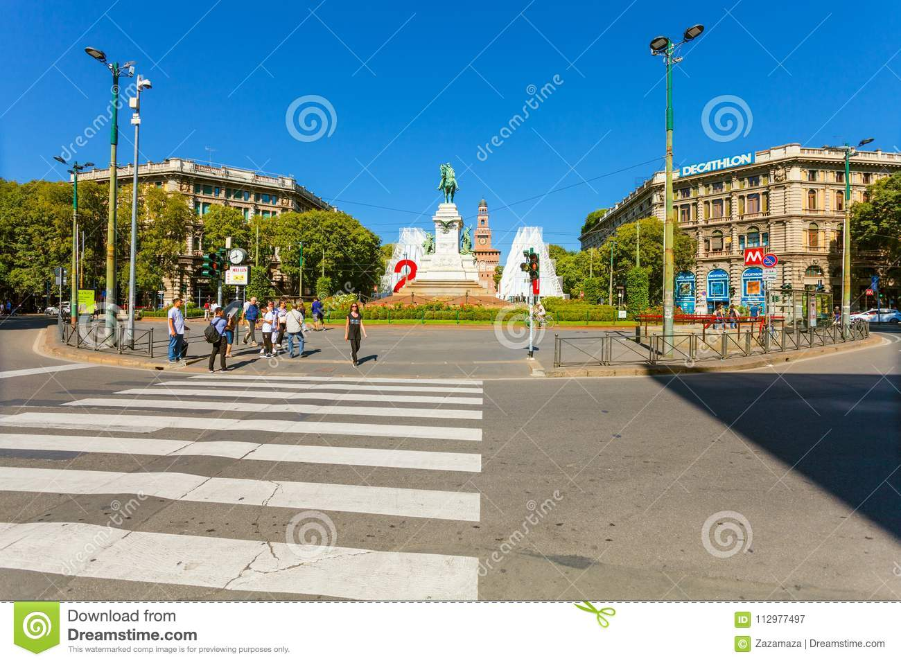 MILAN, ITALY - September 07, 2016: The crosswalk near metro station Cairoli which is located on the Piazzale Cairoli an