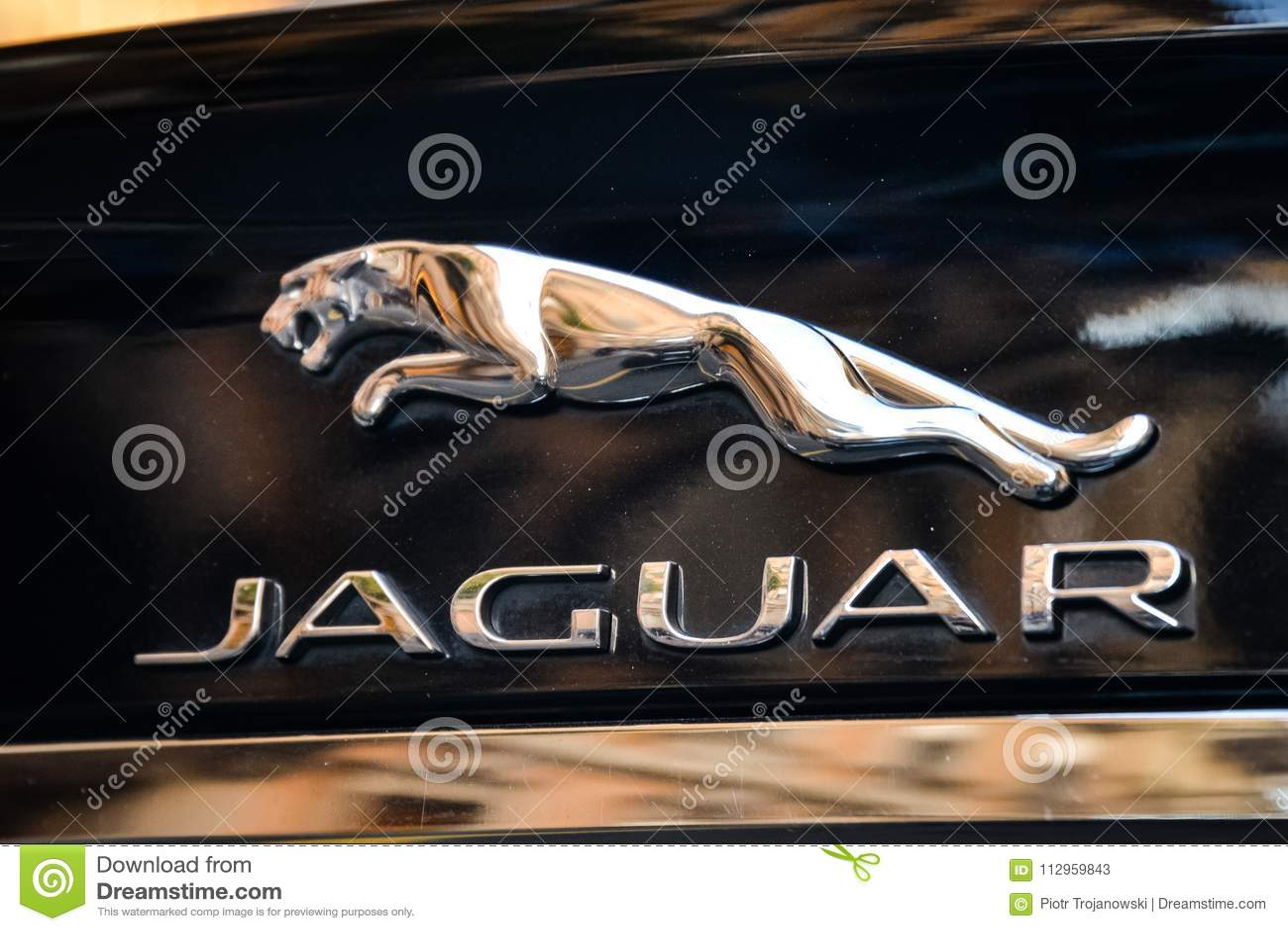 milan italy september 24 2017 jaguar logo on a black sport