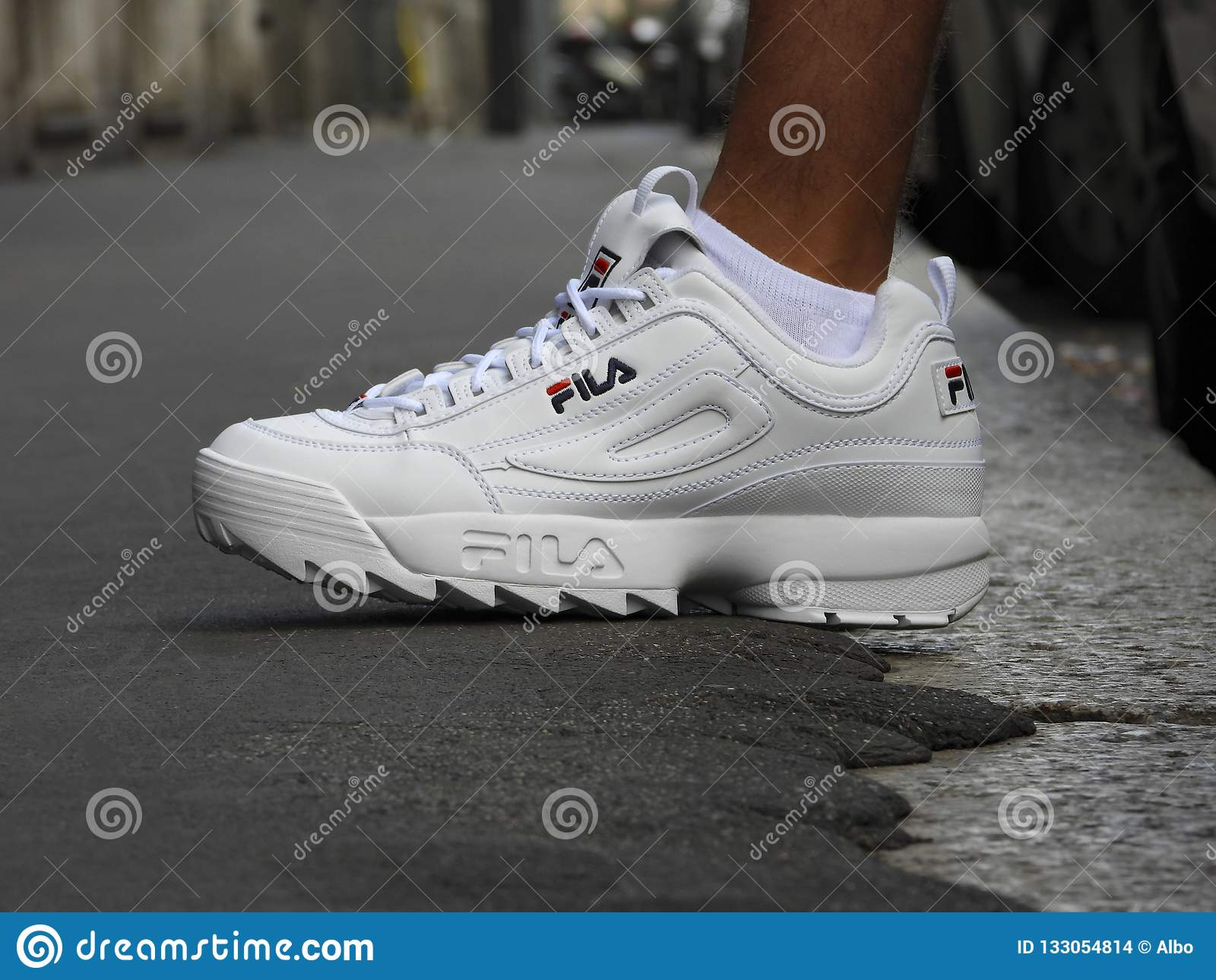Fila Disruptor shoes in the street