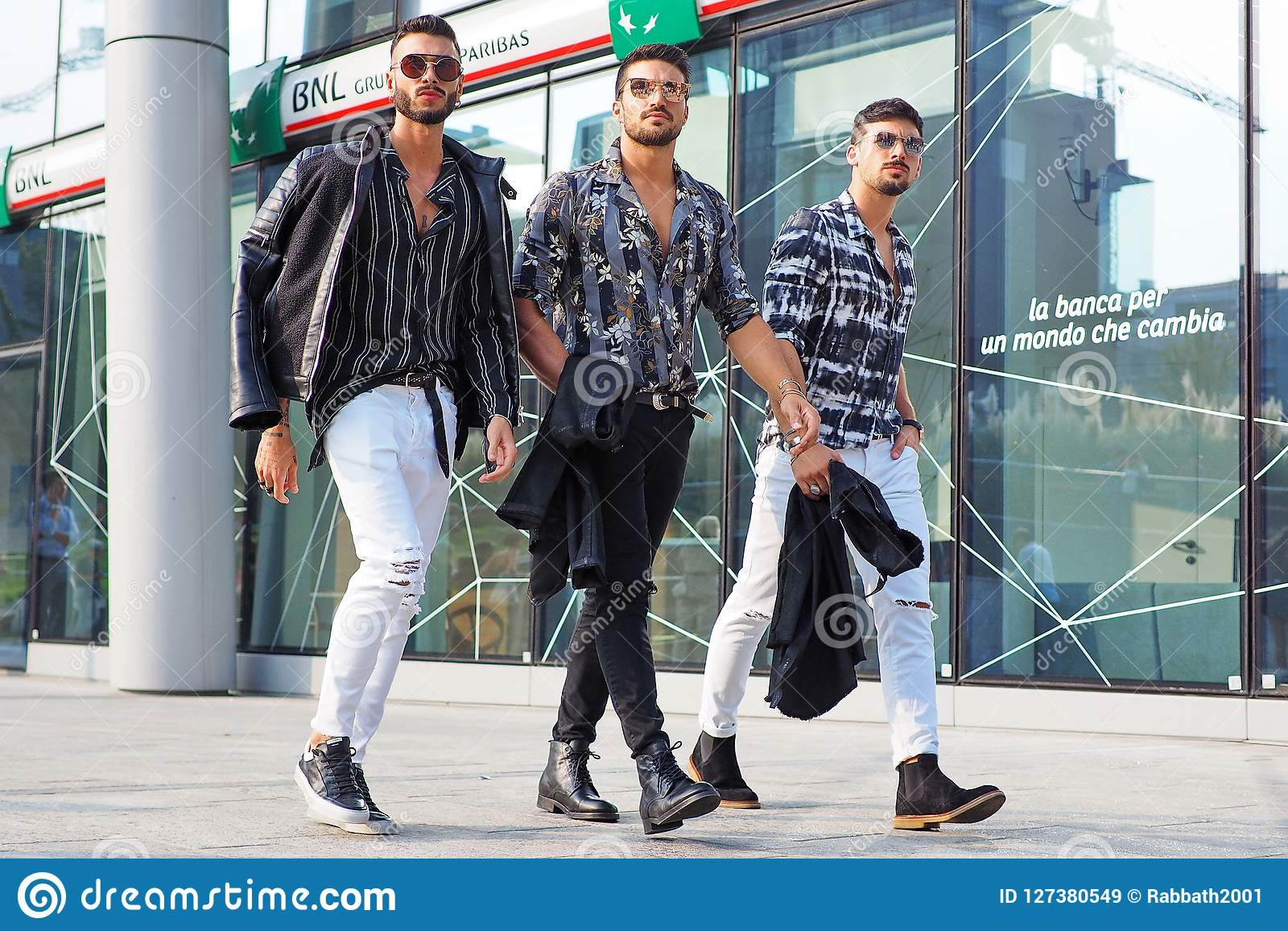 Milan Italy September 19 2018 Men Streetstyle Outfit Editorial