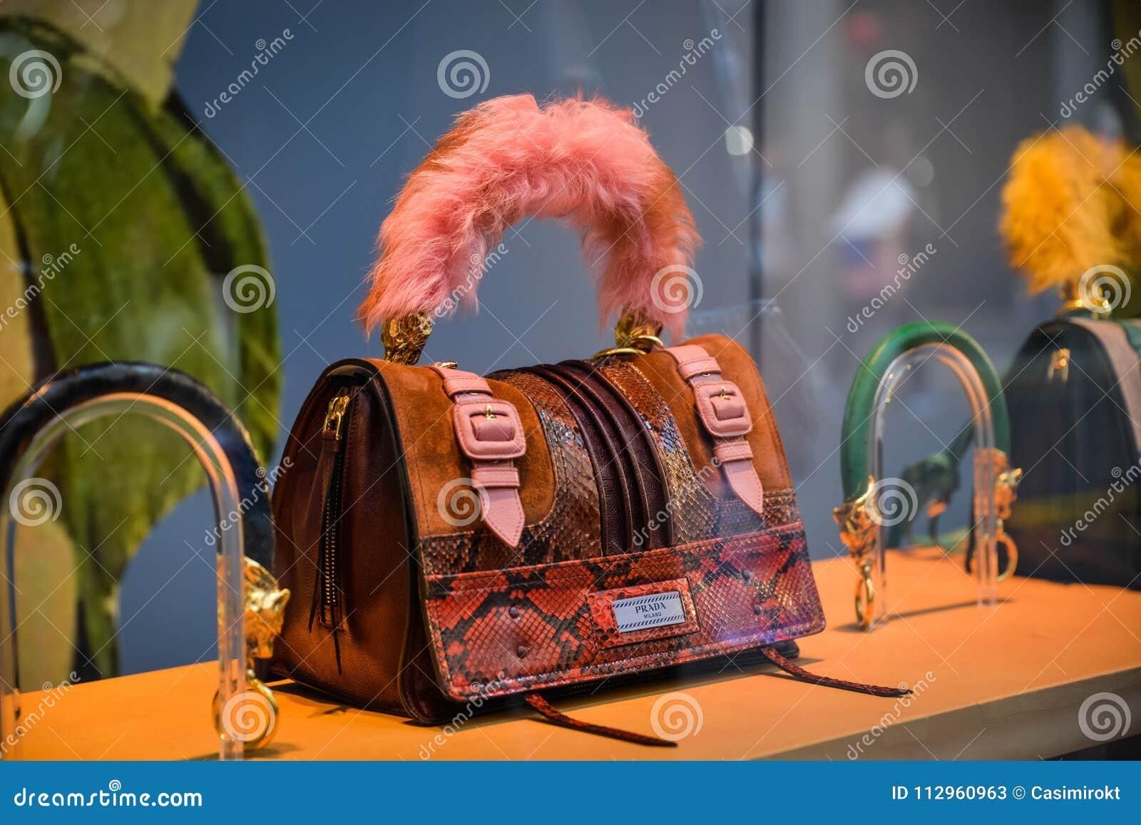 d09df28e29cd Milan, Italy - September 24, 2017: Prada Bag In A Milan Store ...