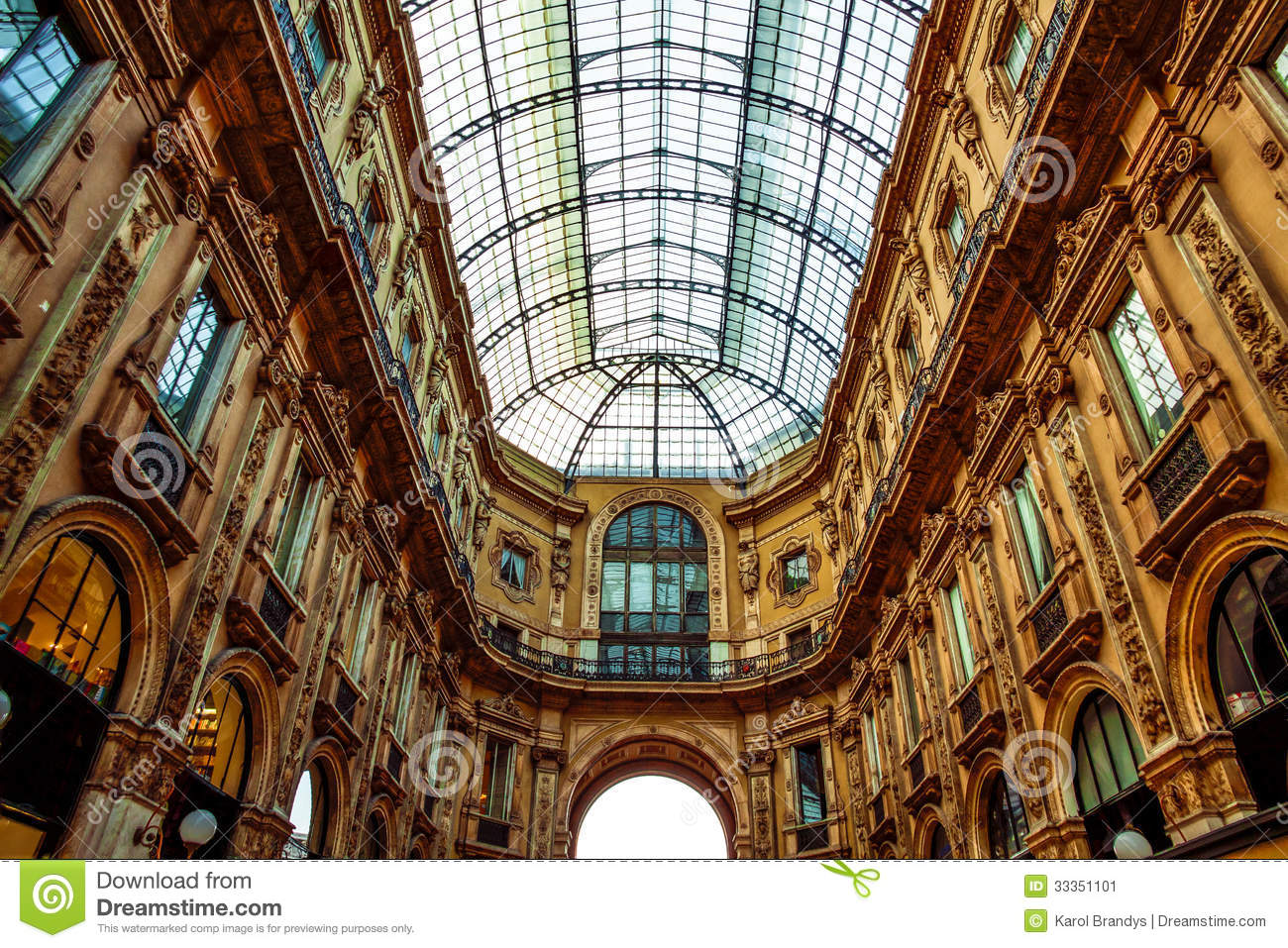 Amazing historic architecture of vittorio emanuele shopping gallery in