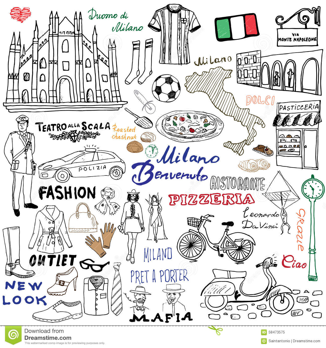 Milan italy sketch elements hand drawn set with duomo cathedral milan italy sketch elements hand drawn set with duomo cathedral flag map shoe fashion items pizza shopping street transpor gumiabroncs Images