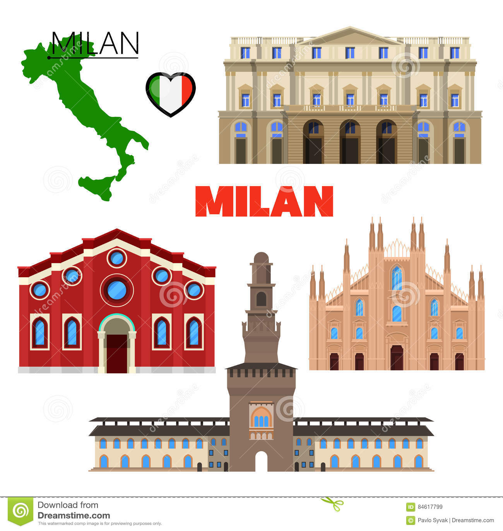 Milan Italy Travel Doodle met Architectuur, Kaart en Vlag