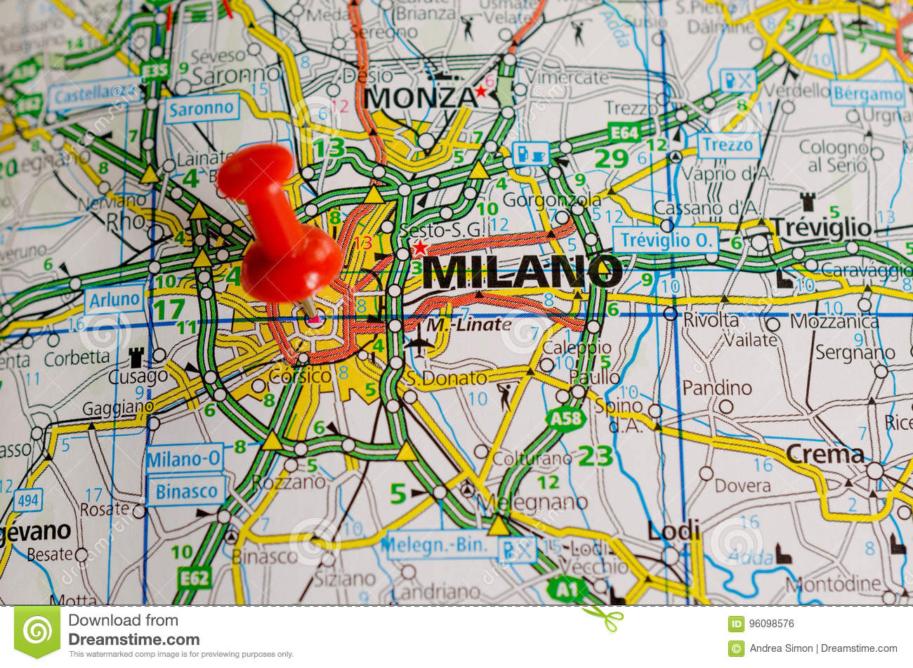 Milan on map stock photo. Image of milano, atlas, gorgonzola - 96098576
