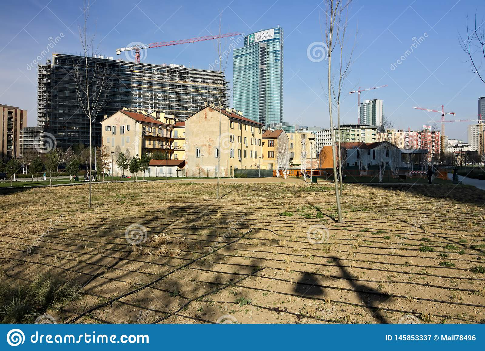 Milan March 21 2019. Ancient farmhouses and new tree planting