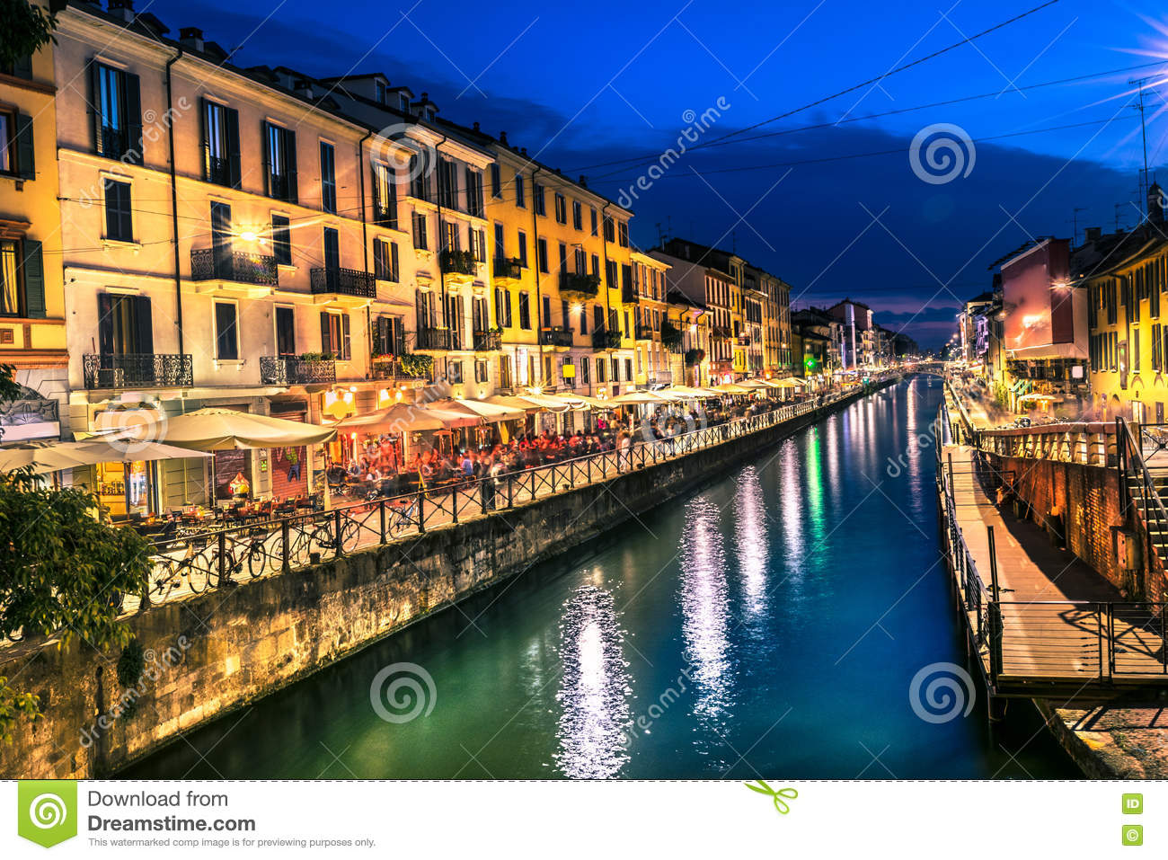 milan nightlife in navigli italy stock photo image of