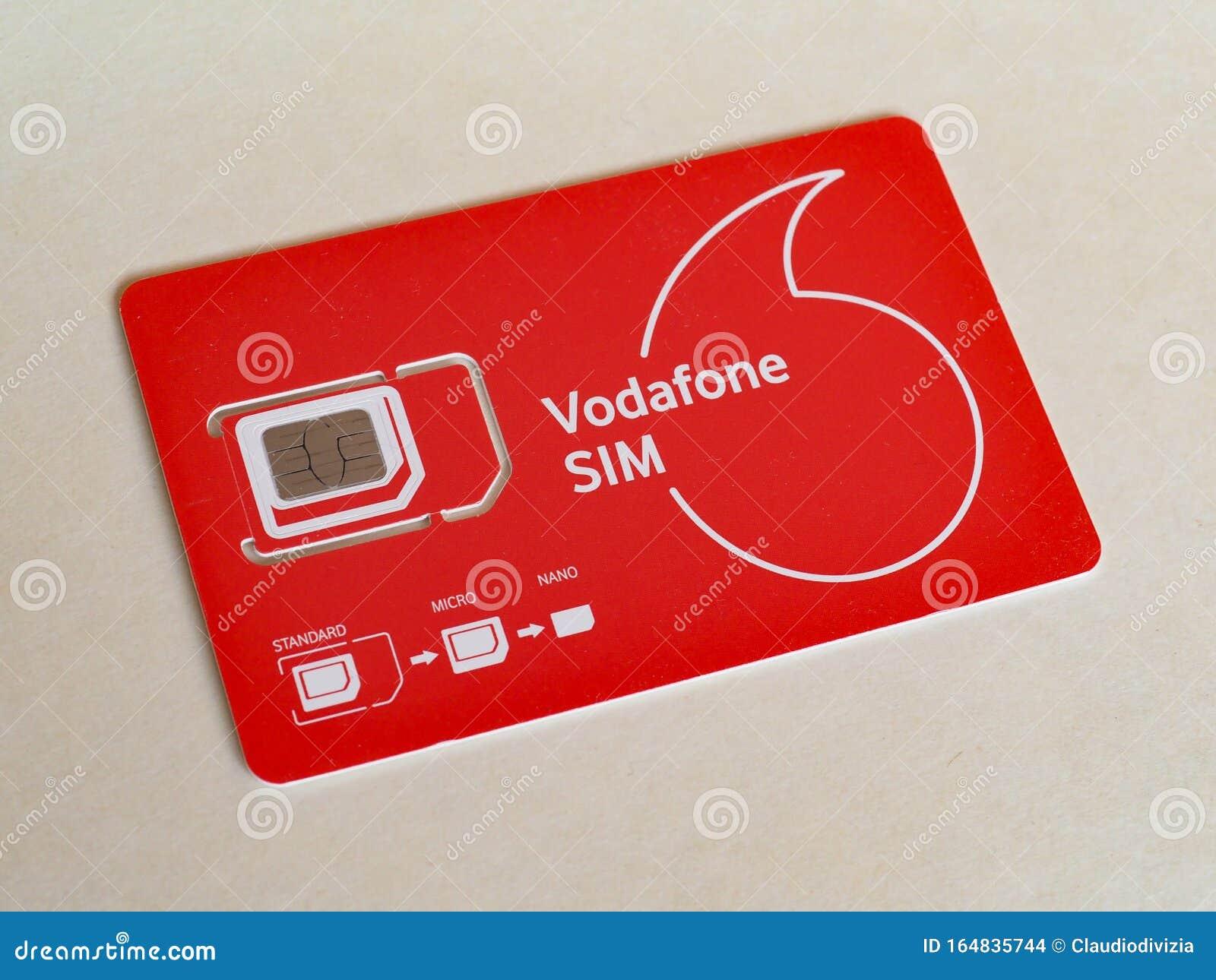 MILAN - OCT 2019: Vodafone Mini Micro And Nano Sim For ...