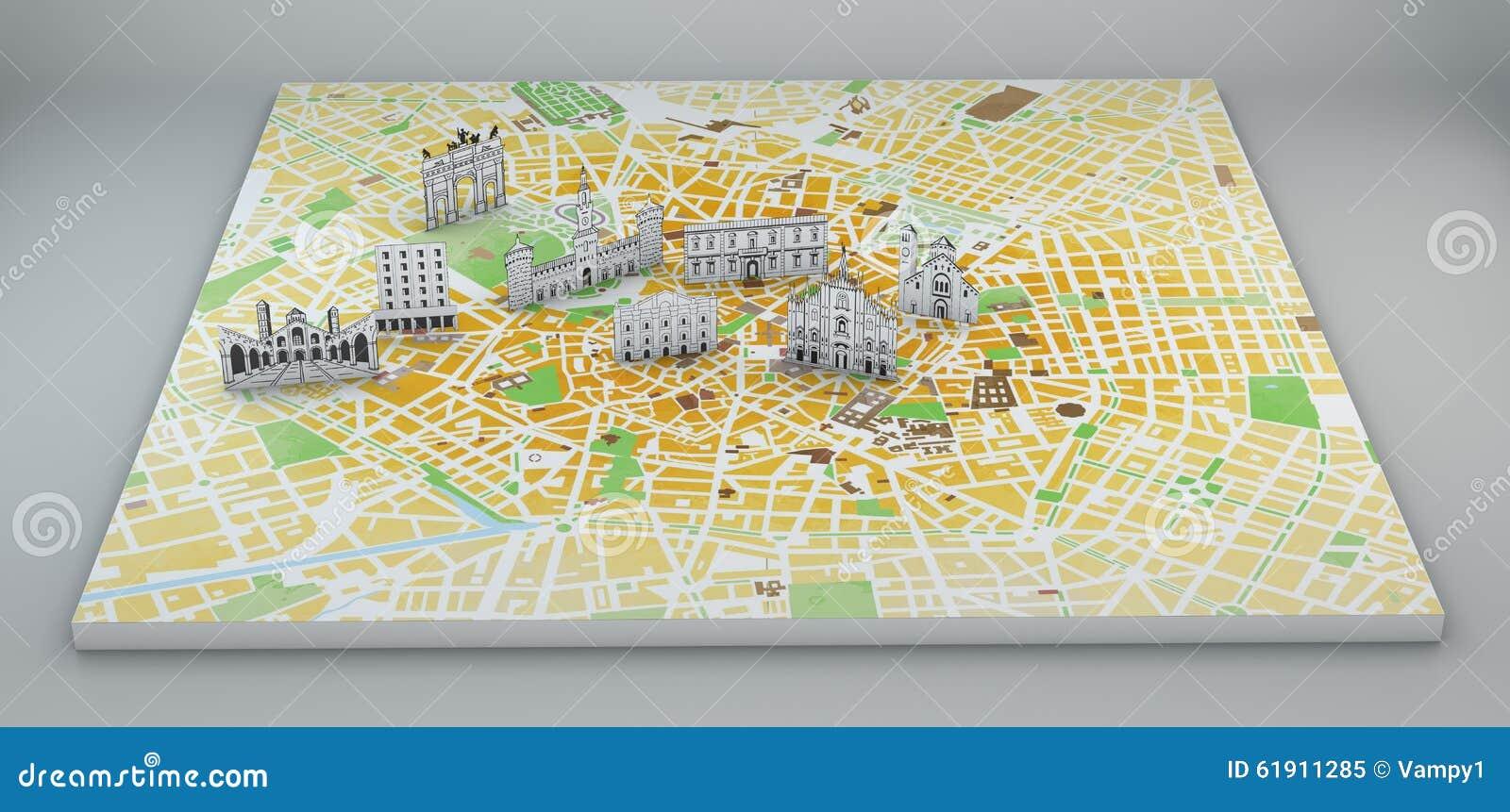 Milan, Vue Satellite, Carte Et Monuments Dessinés à La Main Illustration Stock - Image: 61911285
