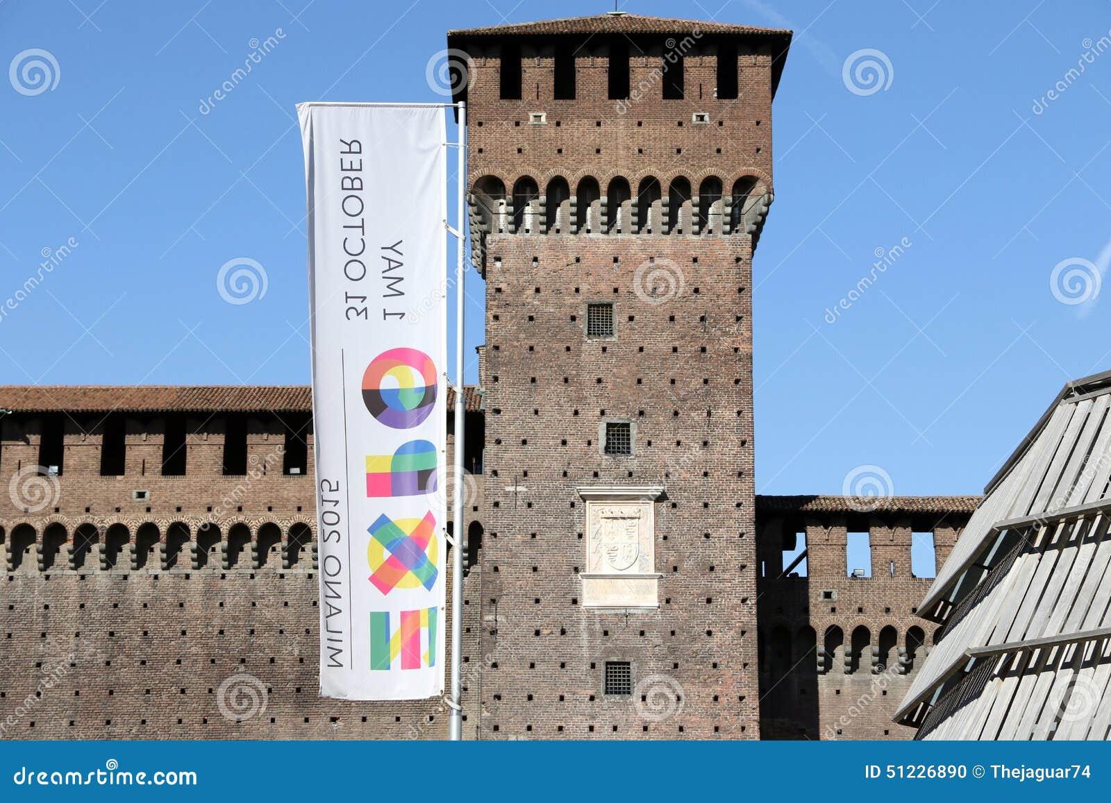 Milano,milan castello sforzesco expo official flag