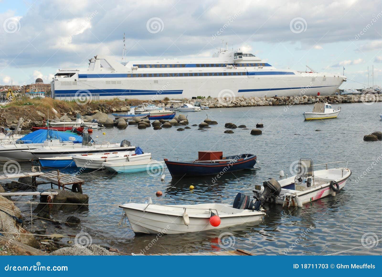 Milazzo harbor Sicily with ferry to Lipari Islands Italy