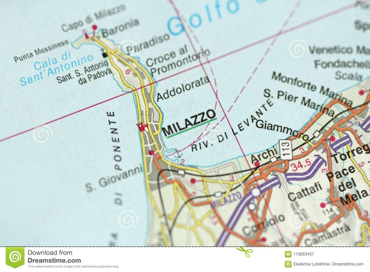 Islands Of Italy Map.Milazzo Map The Islands Of Sicily Italy Stock Image Image Of