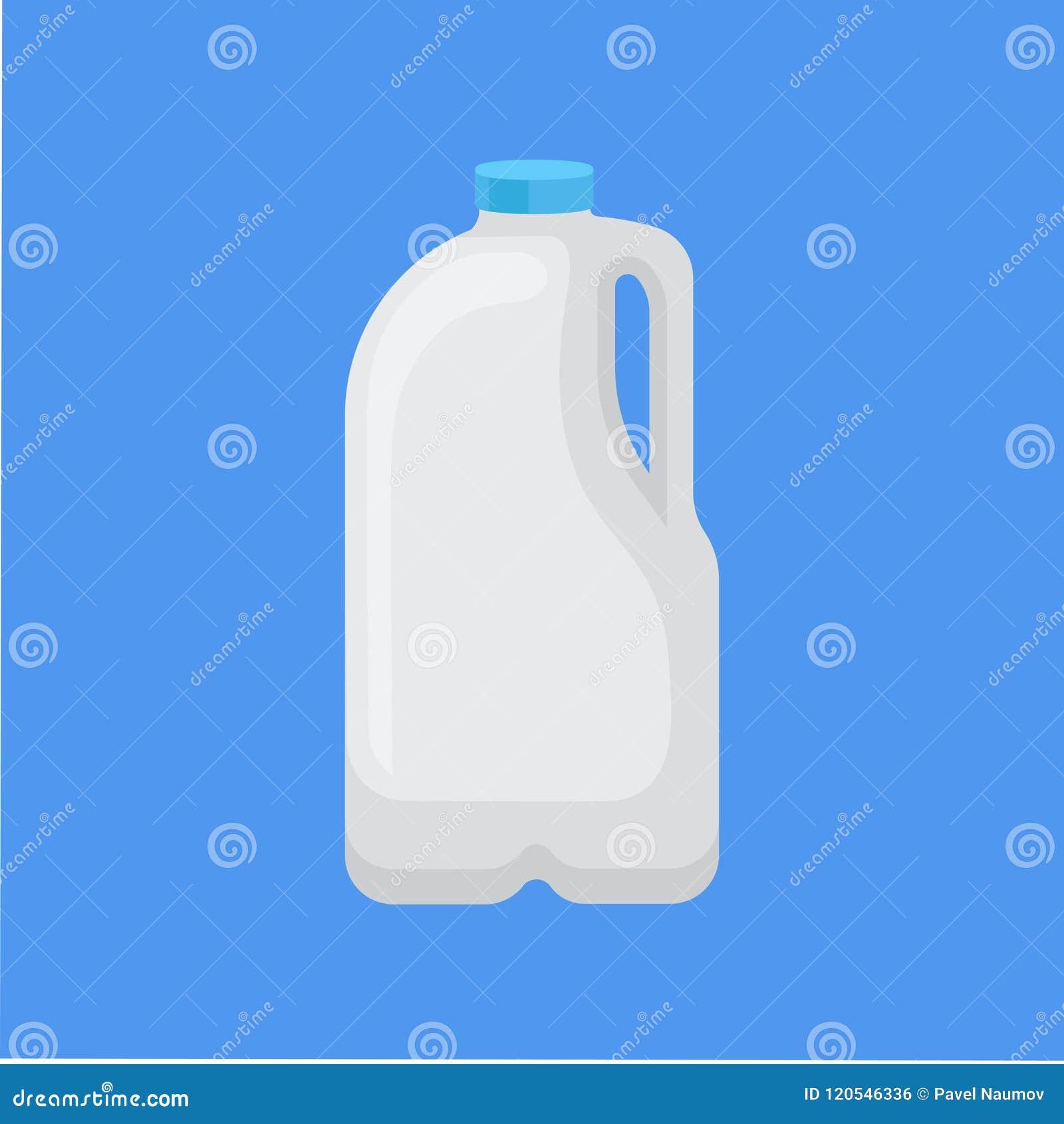 Milchprodukt in der Plastikverpackung, Gallone von Milchvektor Illustration in der flachen Art