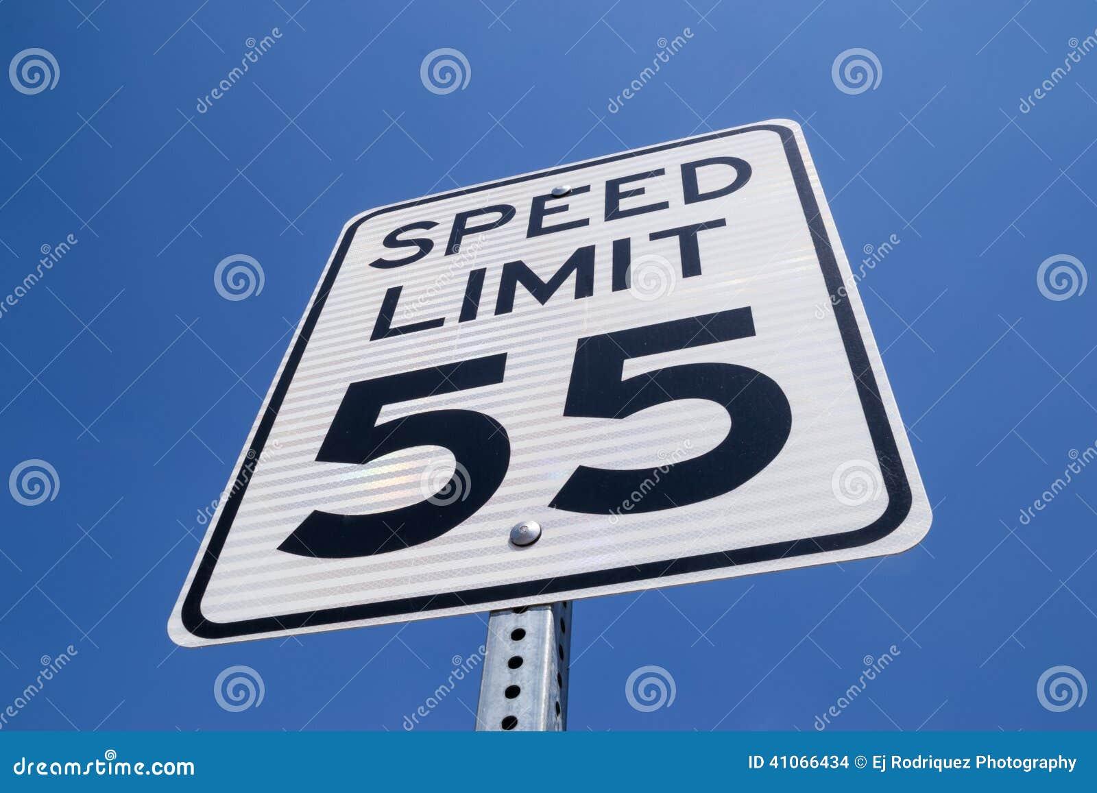 55 mile per hour sign.
