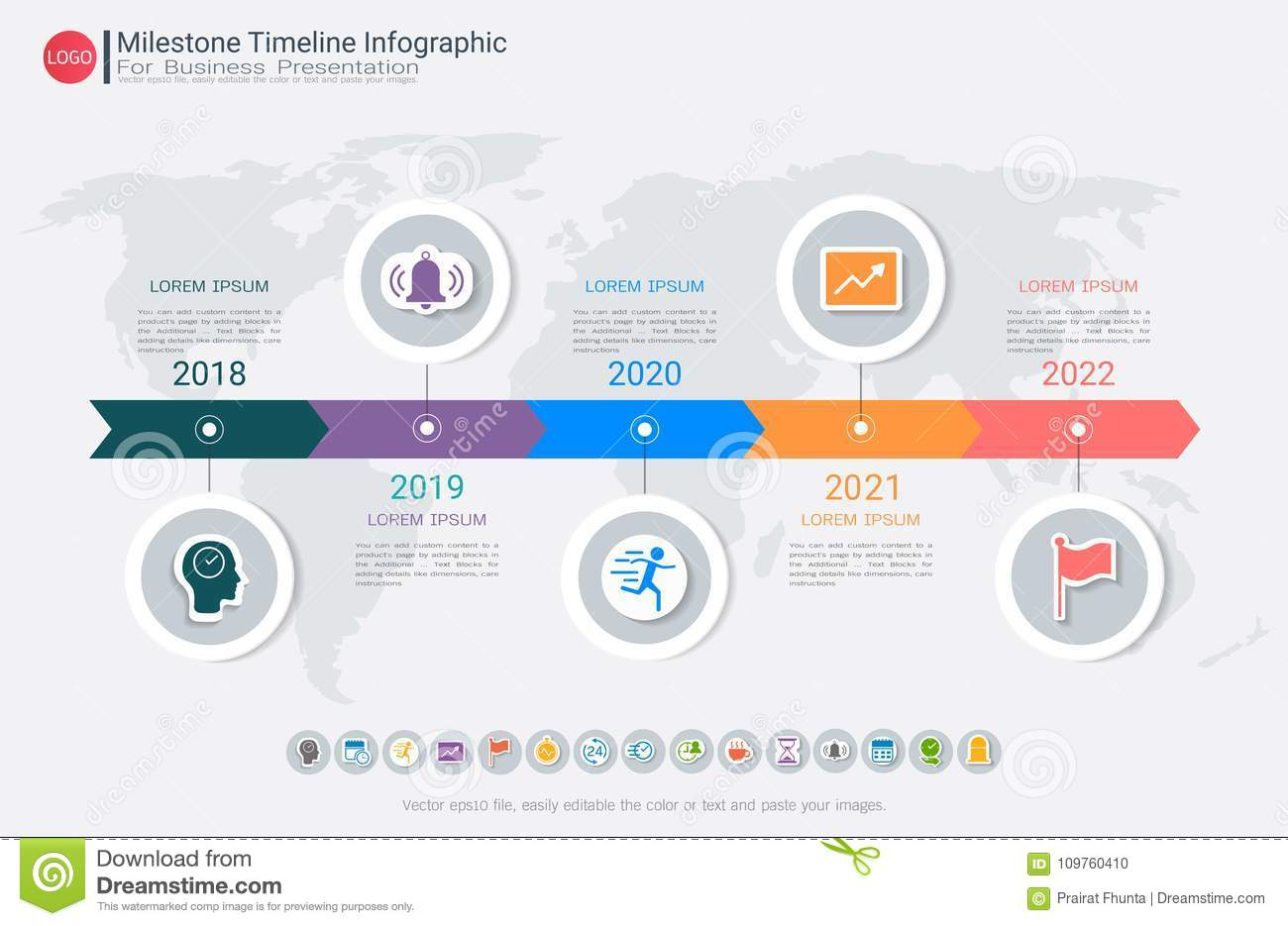 milestone timeline infographic design stock vector illustration