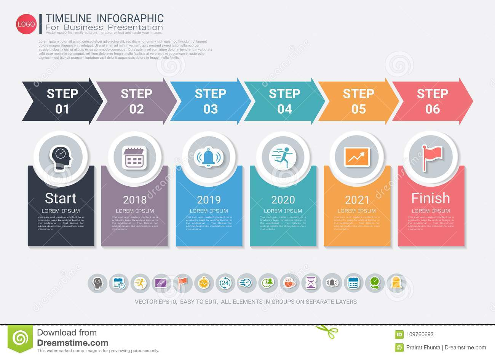 milestone timeline infographic design  stock vector