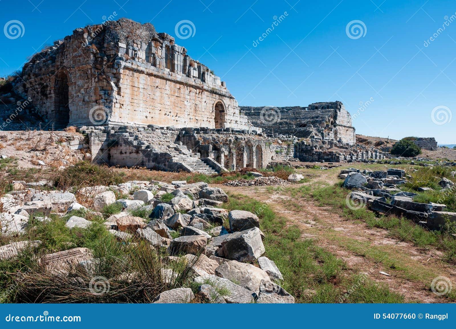 Miletus, Turkije, oude theaterruïnes