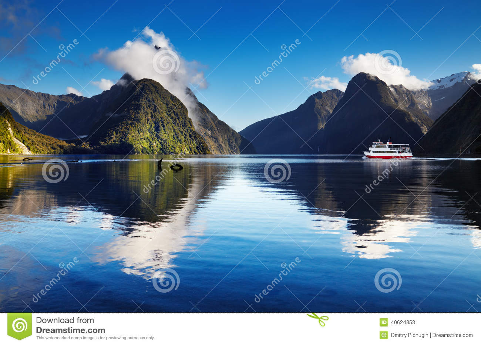 New Zealand Time Image: Milford Sound, New Zealand Stock Photo