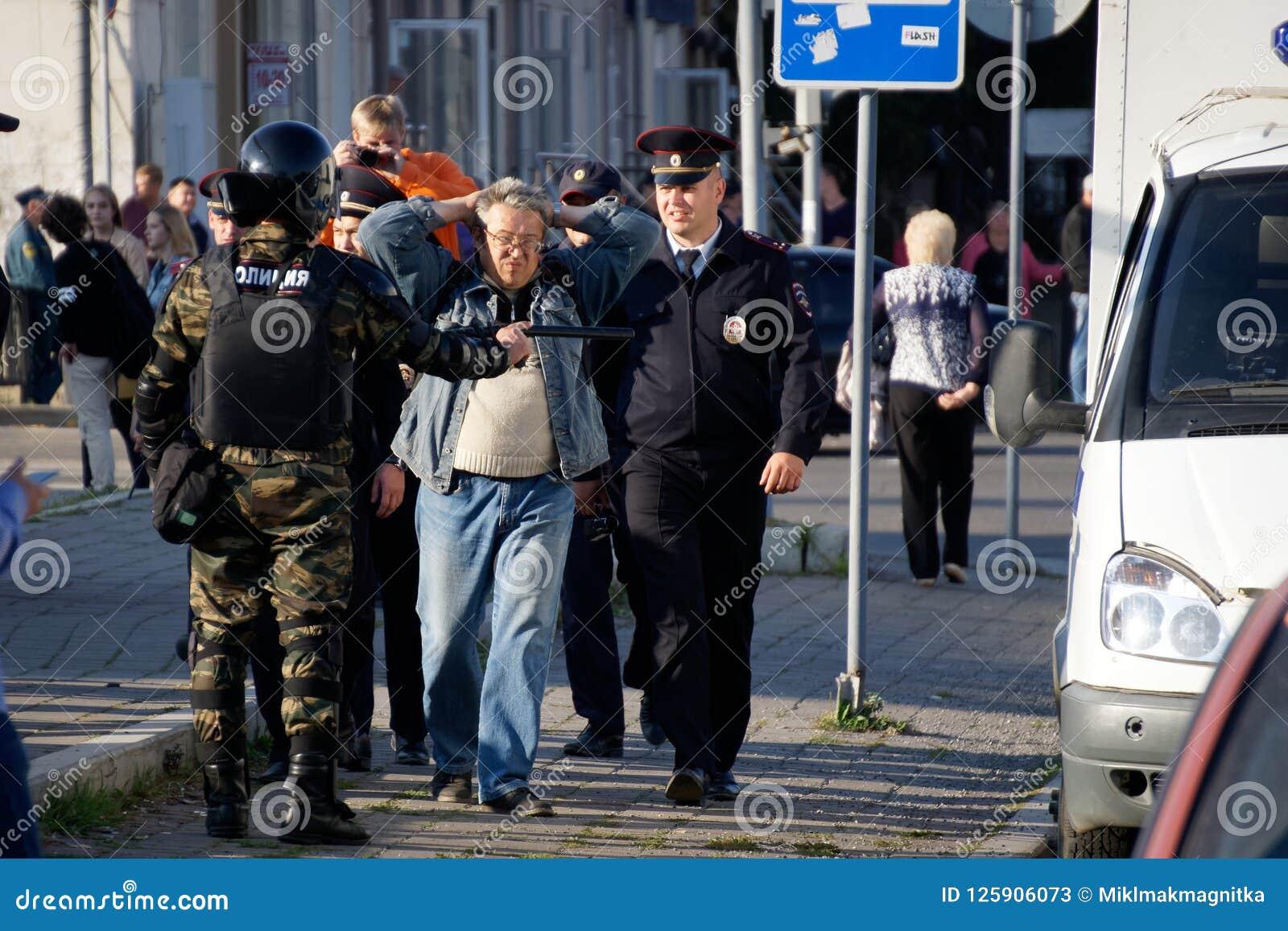 Milicyjna praca w Rosja Protestować,