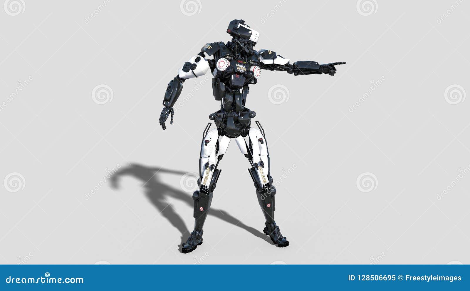 Milicyjny robot, egzekwowanie prawa cyborg wskazuje, androidu policjant odizolowywający na białym tle, 3D odpłaca się