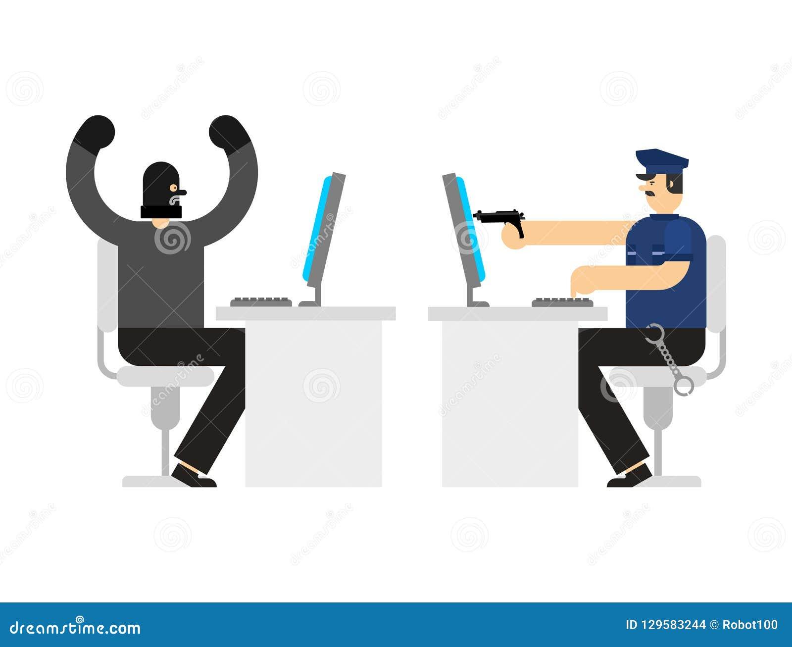 Milicyjny zatrzymanie hackera cybercriminal Wirtualny policjant i rabuś