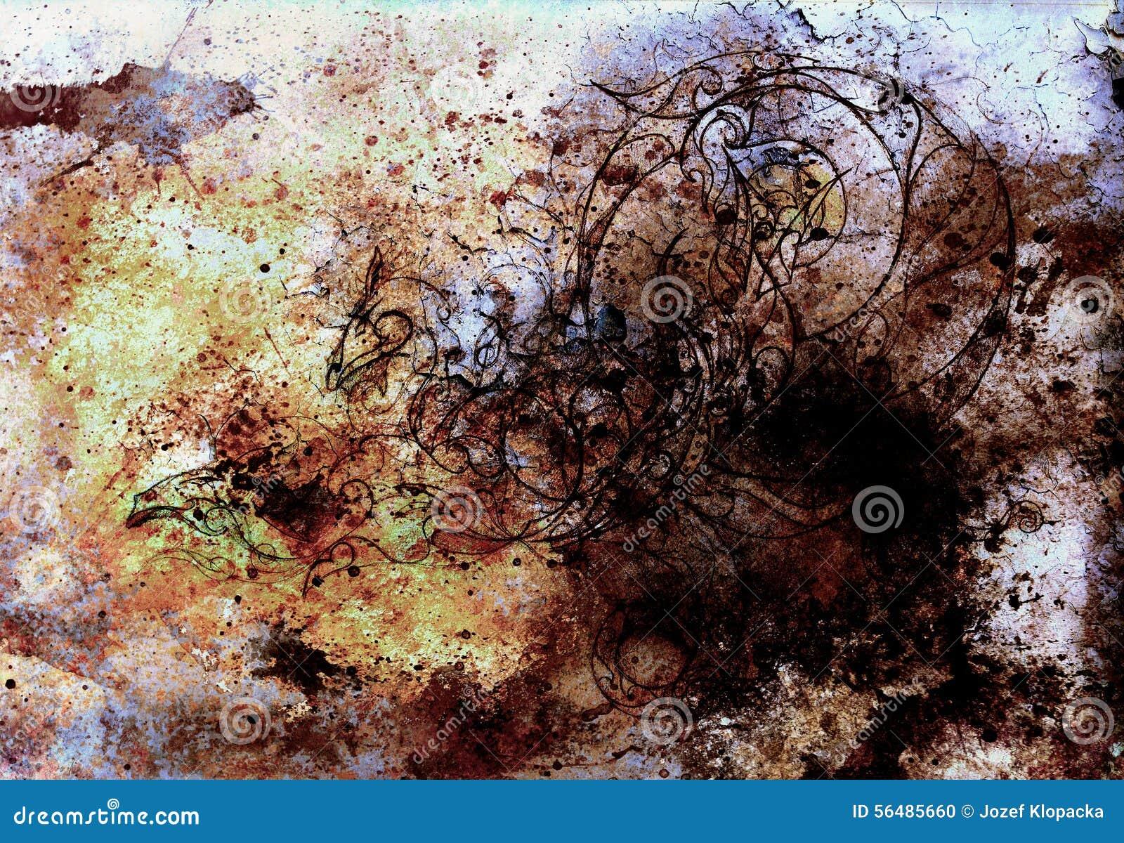 Milieux abstraits de couleur, collage de peinture avec des taches, structure de rouille et dragon d ornements