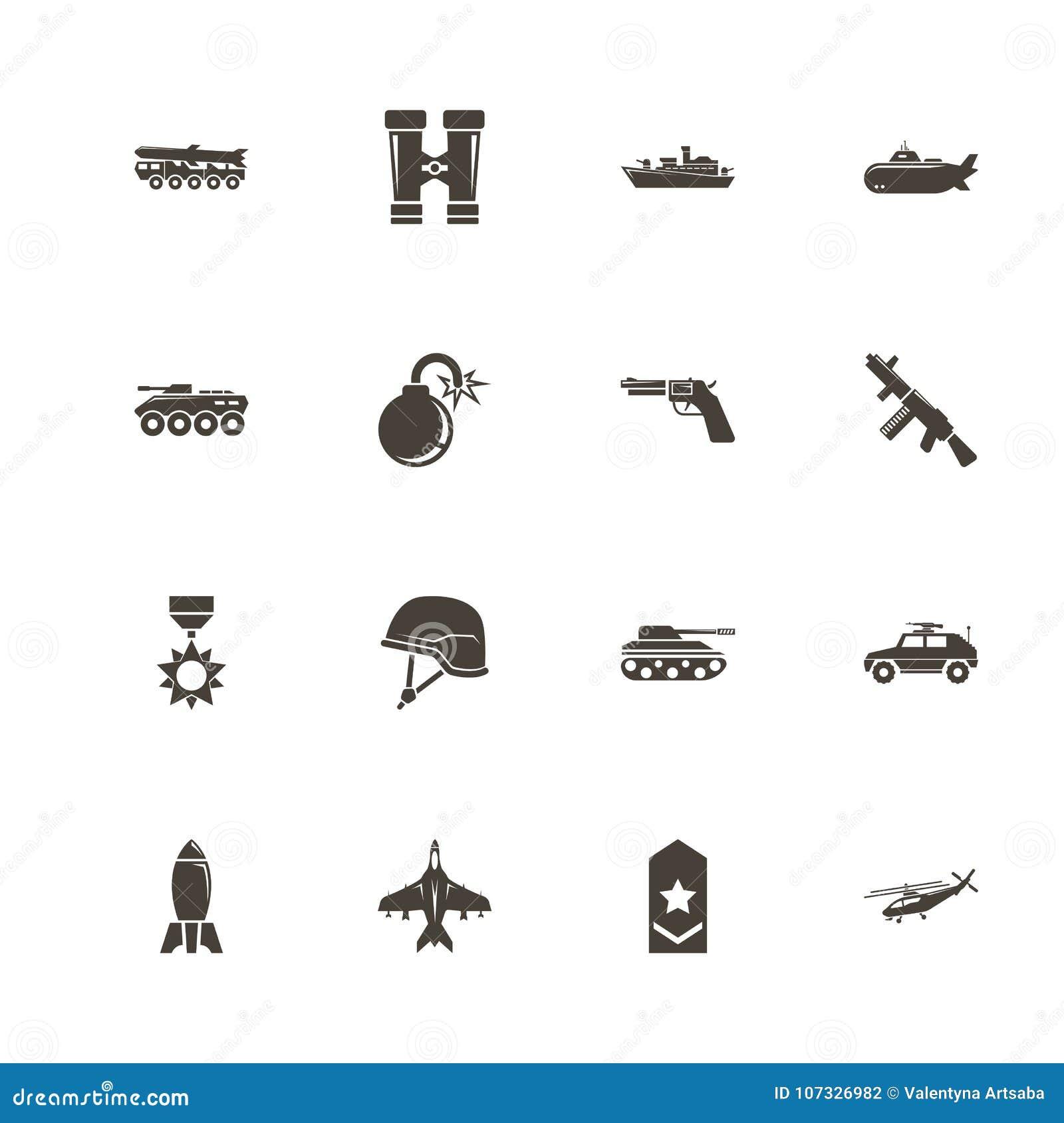 Militär - plana vektorsymboler