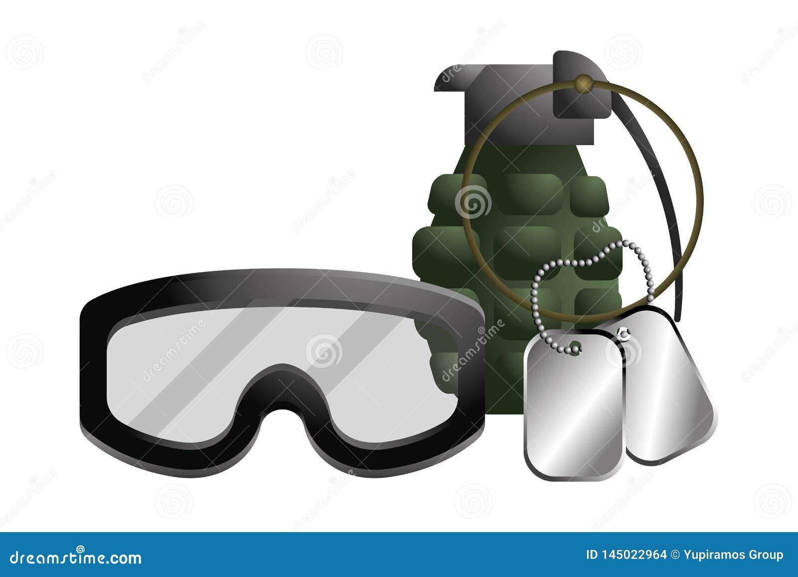 Militär skyddsglasögon med granat- och hundetikettsplattan
