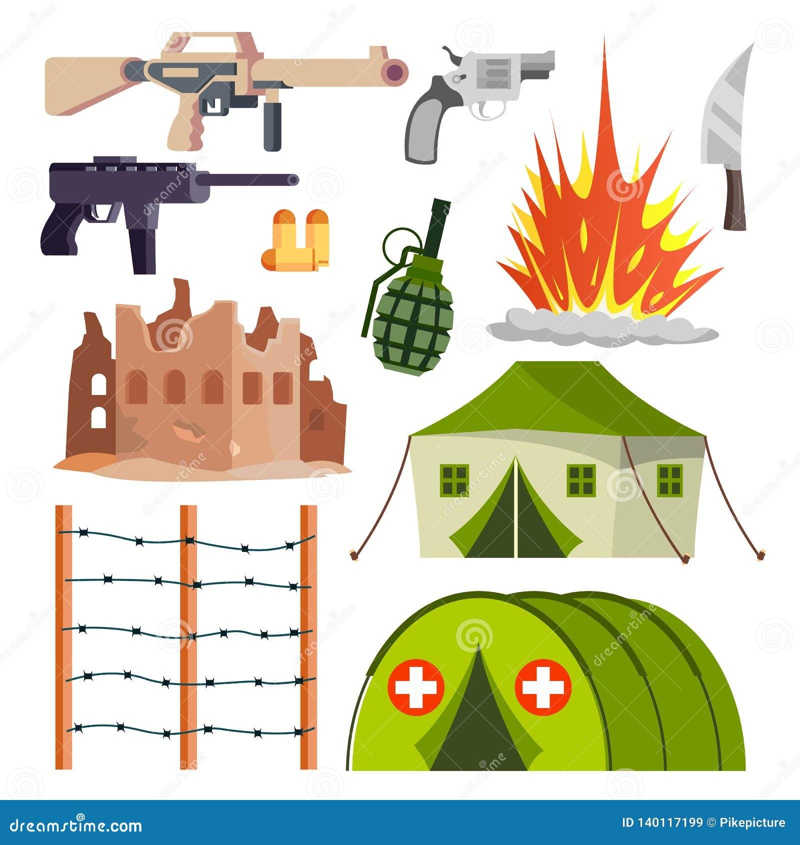 Militär symbolsvektor för krig Sjukhuset bombarderar explosionen, vapen, pistol Isolerad plan tecknad filmillustration