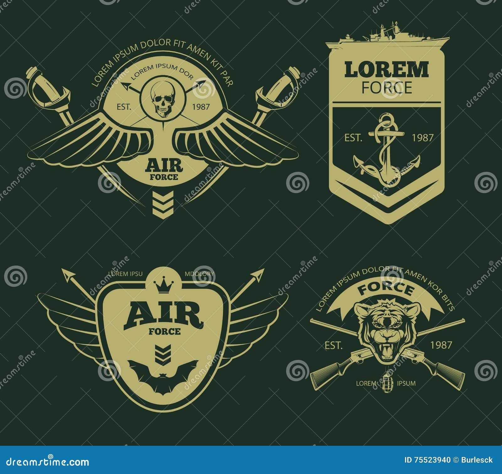 Militära vektorlappar för färg