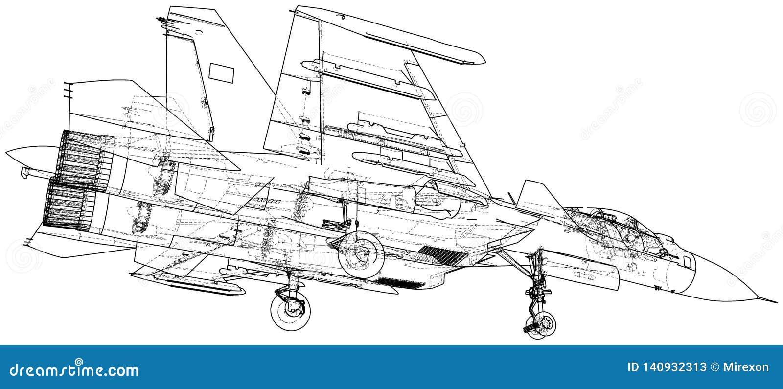 Militärfläche Kampfflugzeugvektorillustration Geschaffene Illustration von 3d